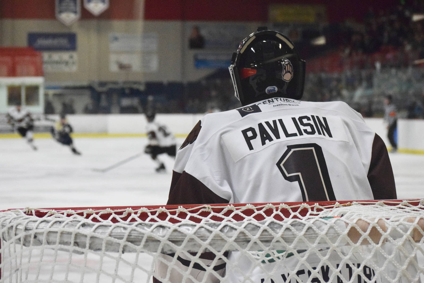 Kenai River Brown Bears goalkeeper Landon Pavlisin keeps an eye on the action during a game against the Janesville Jets, Saturday, Oct. 12, 2019, at the Soldotna Regional Sports Complex in Soldotna, Alaska. (Photo by Joey Klecka/Peninsula Clarion)