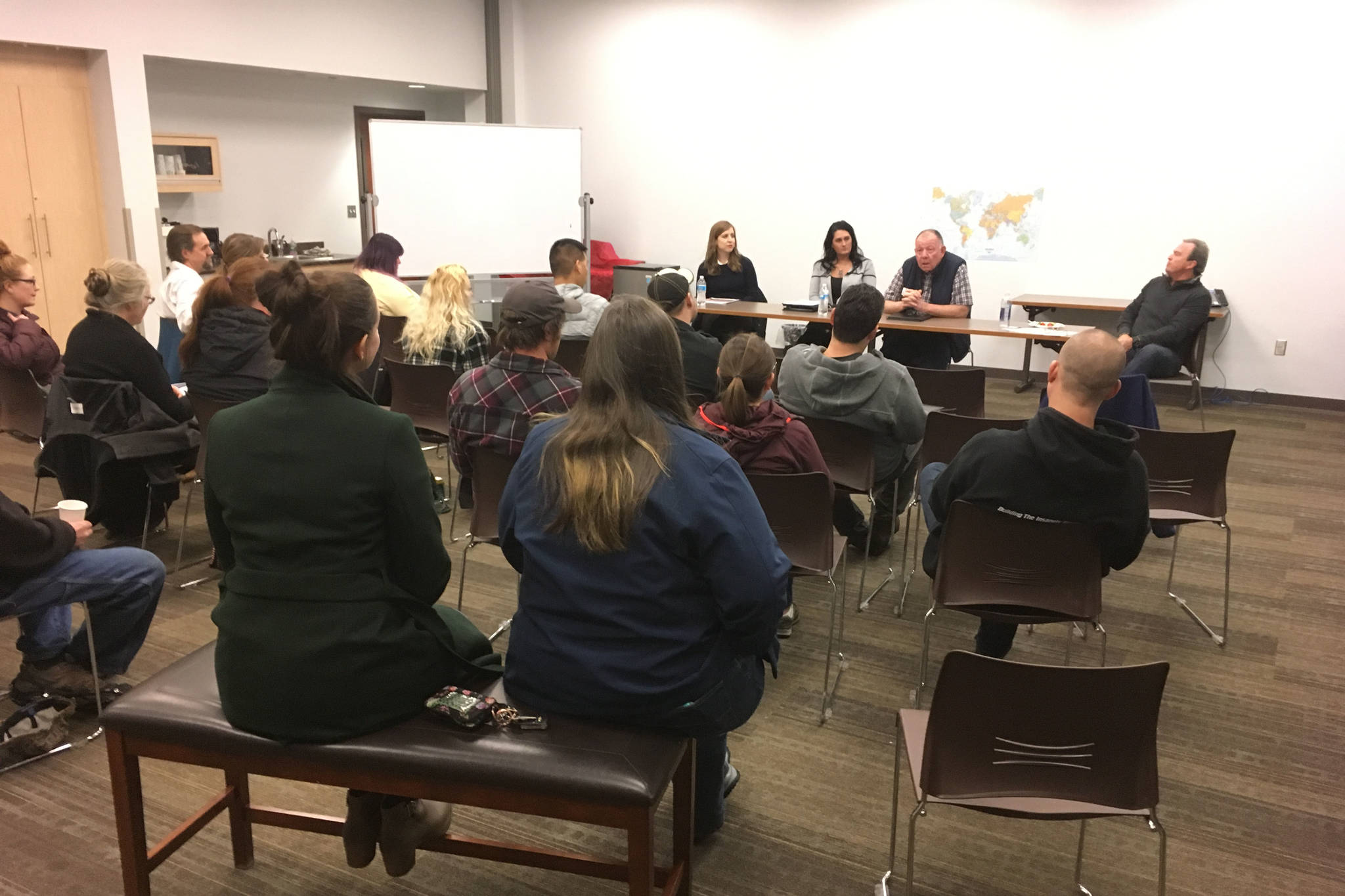 Participants in 2018's Startup Week attend a finance panel at the Soldotna Library in this undated photo. (Photo courtesy Pamela Parker)