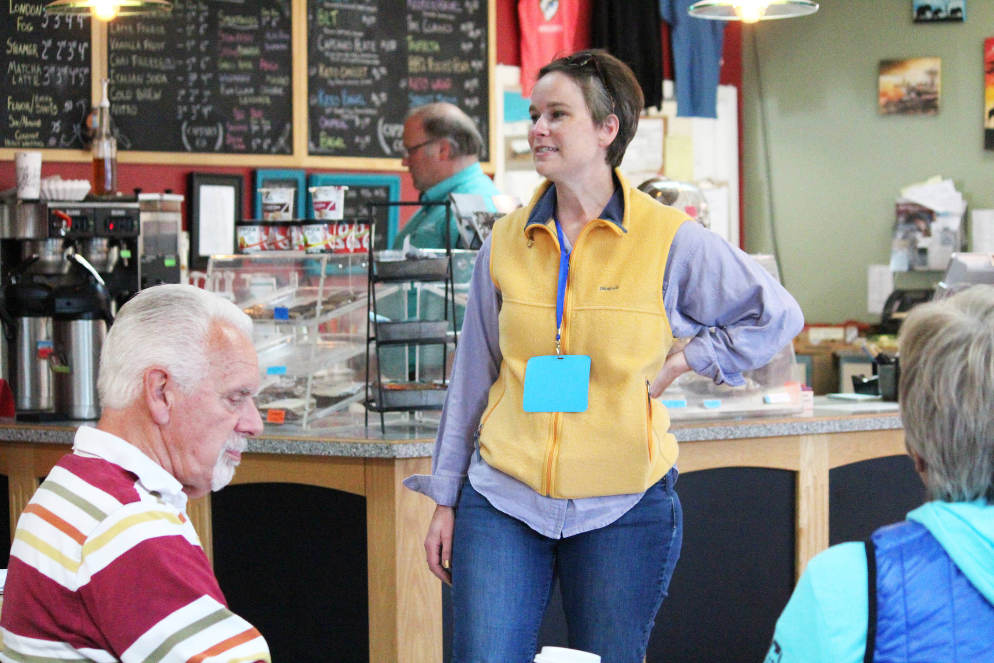 Rep. Sarah Vance (R-Homer) addresses a crowd of people during a legislative update meeting Thursday, Aug. 29, 2019 at Captain's Coffee in Homer, Alaska. (Photo by Megan Pacer/Homer News)