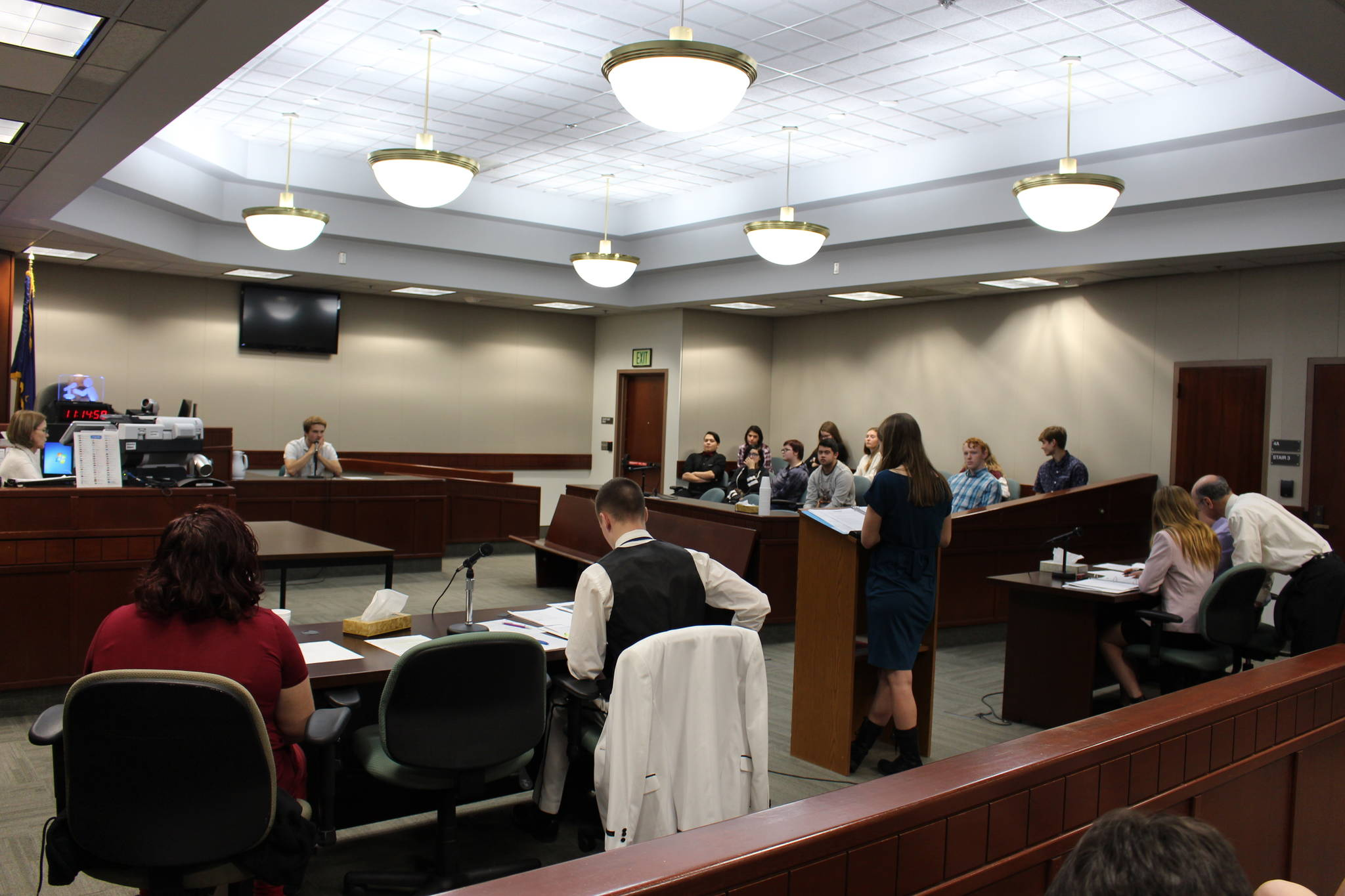 Students from Nikiski/Middle High School participate in a mock trial at the Kenai Courthouse on Dec. 3, 2019. (Photo by Brian Mazurek/Peninsula Clarion)