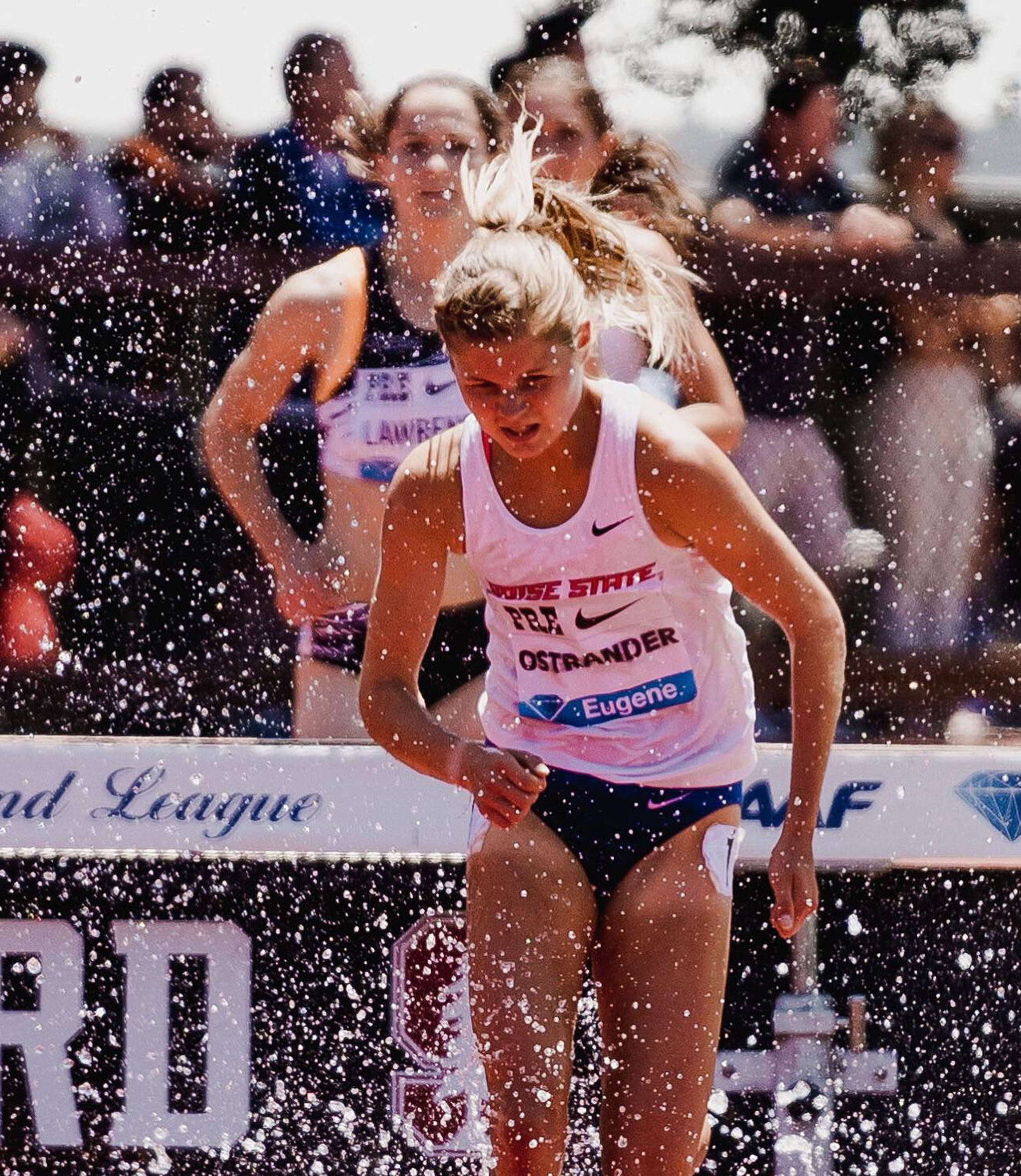 Boise State's Allie Ostrander competes in the women's 3,000-meter steeplechase final June 30 at the Prefontaine Classic at Stanford University in California. (Photo taken by Cortney White)