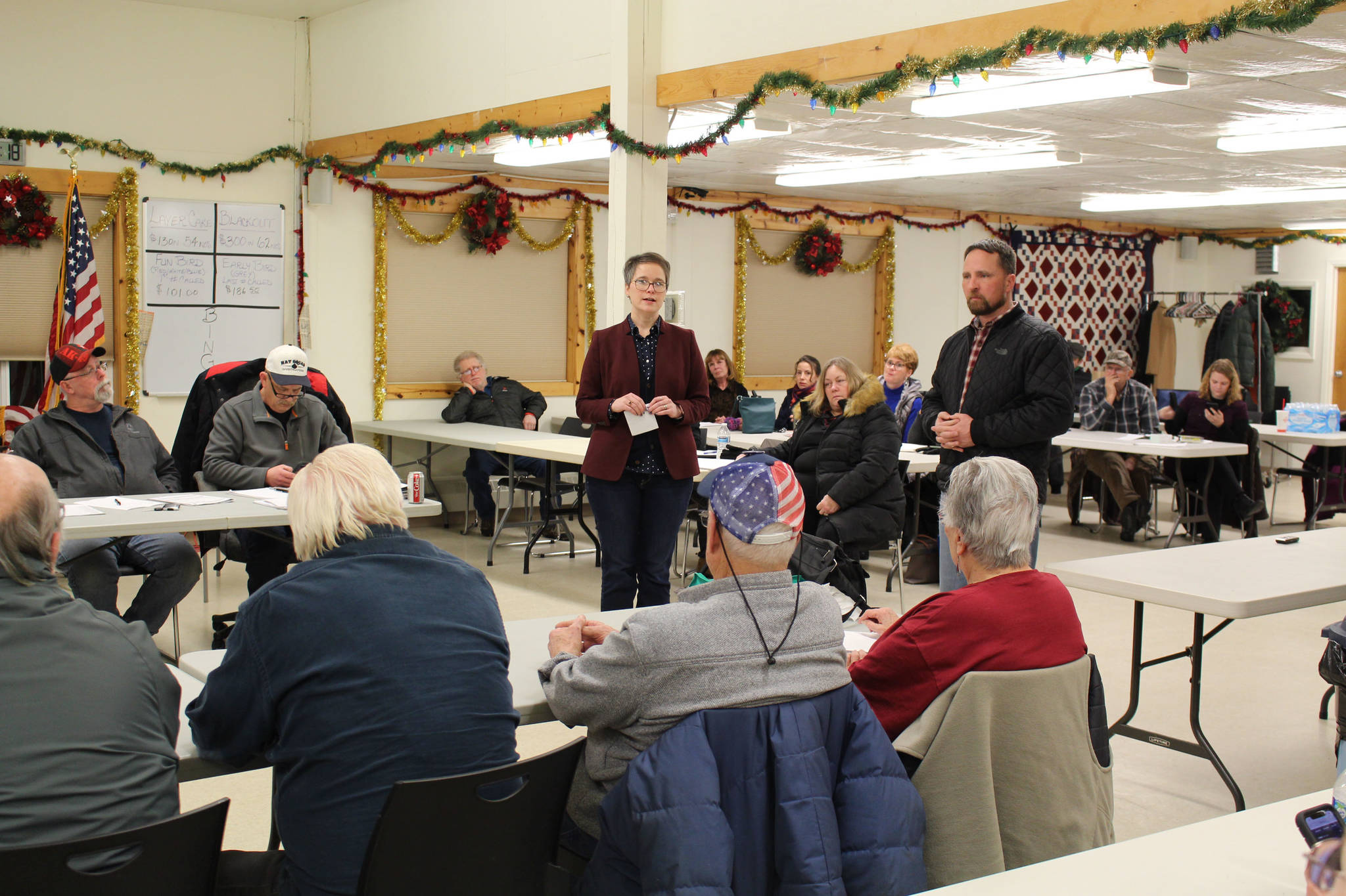 Brian Mazurek / Peninsula Clarion                                 Rep. Sarah Vance (R-Homer), left, and Rep. Ben Carpenter (R-Nikiski) speak to constituents during a town hall at the Funny River Community Center in Funny River on Thursday.