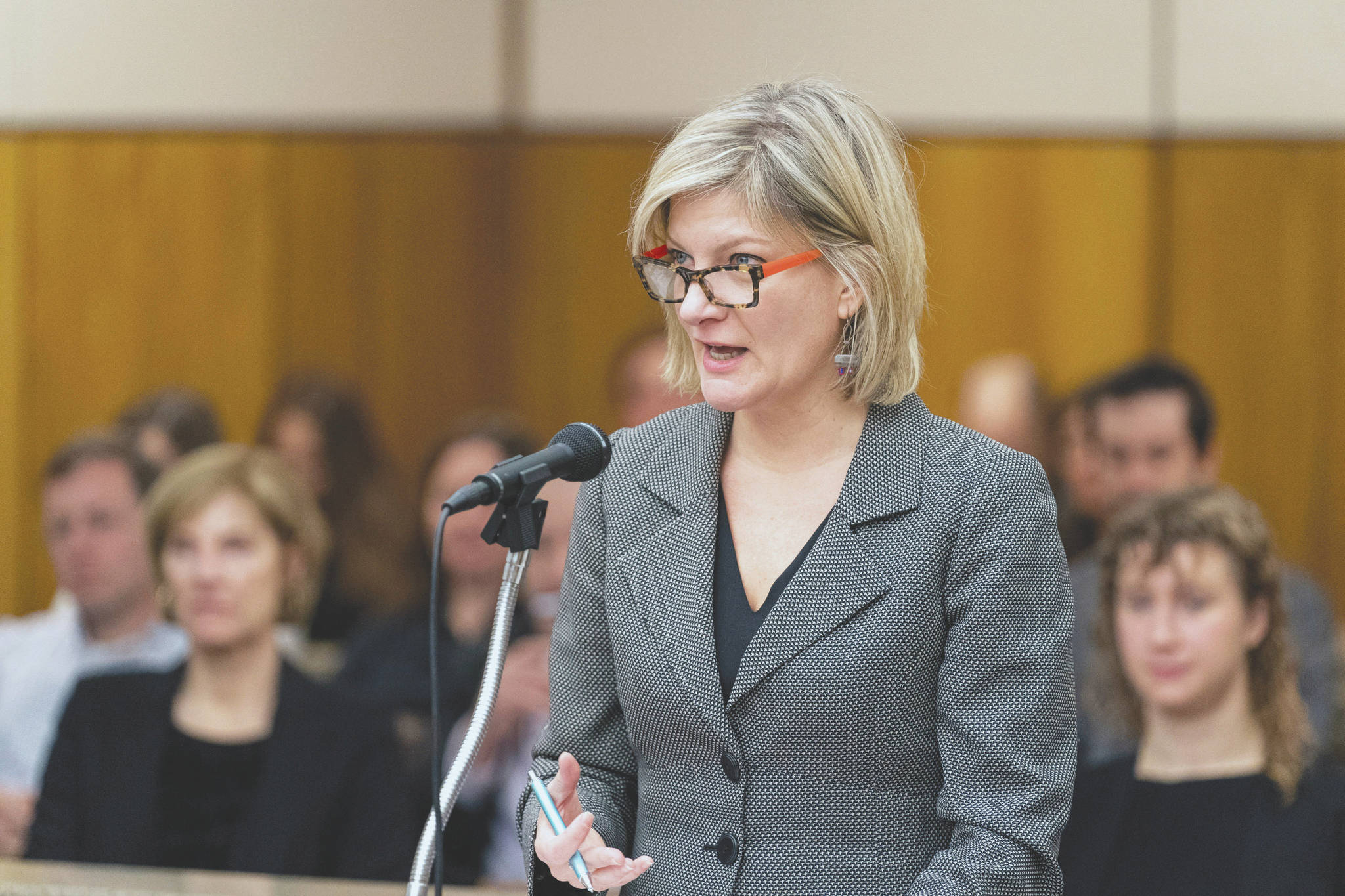 Former Alaska Attorney General Jahna Lindemuth argues on behalf of the Recall Dunleavy campaign Friday, Jan. 10, 2020 in Alaska Superior Court. The campaign alleges that the state improperly rejected one step of their recall effort. Judge Eric Aarseth ruled that an effort to recall Republican Gov. Mike Dunleavy may proceed, a decision that is expected to be appealed. The decision followed arguments in the case and came two months after Gail Fenumiai, director of the state Division of Elections, rejected a bid to advance the recall effort. (Loren Holmes/Anchorage Daily News via AP)