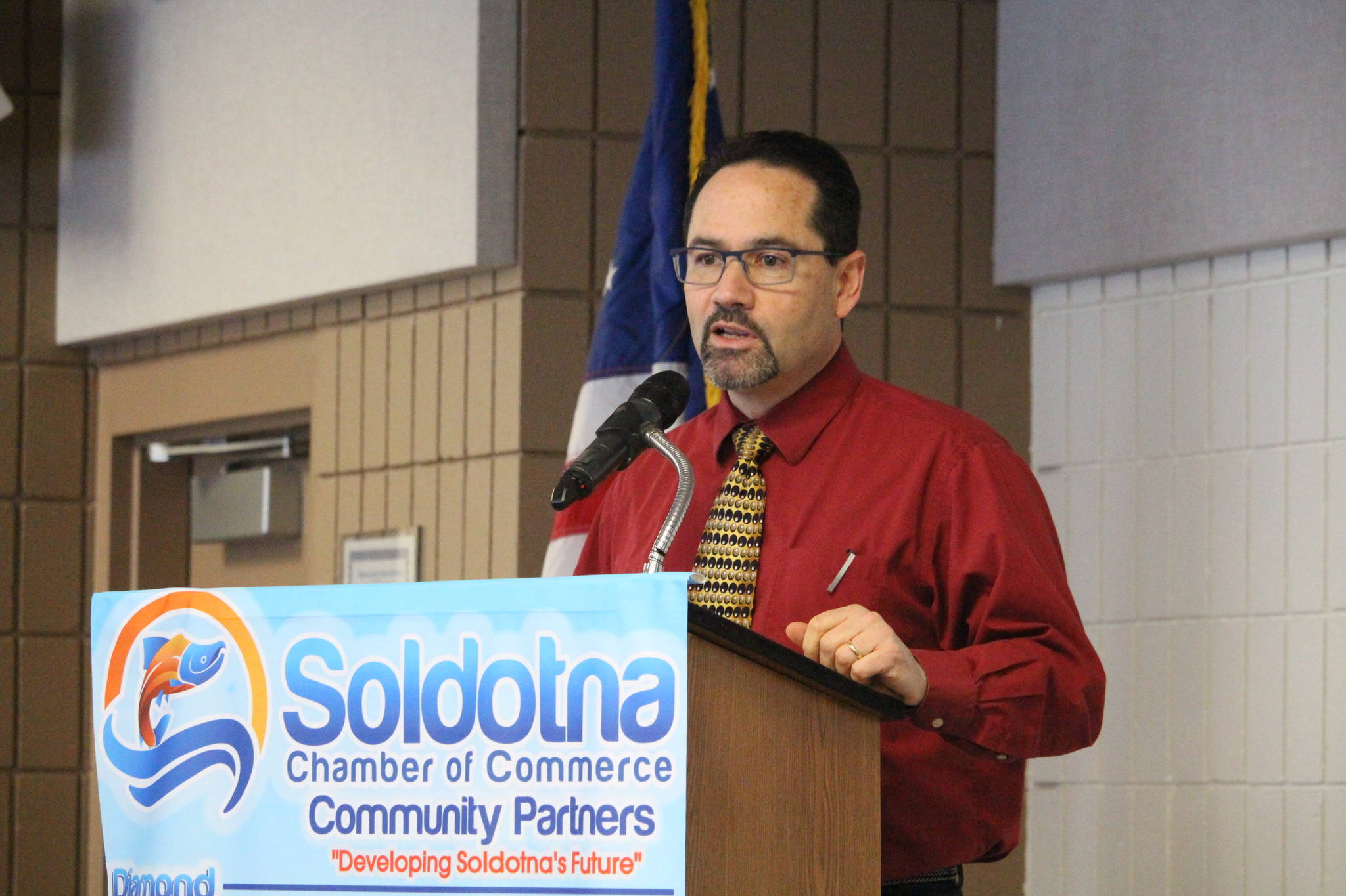 John O'Brien, superintendent for the Kenai Peninsula School District, gives a presentation to the Soldotna Chamber of Commerce at the Soldotna Regional Sports Complex in Soldotna, Alaska, on Wednesday, Jan. 22, 2020. (Photo by Brian Mazurek/Peninsula Clarion)