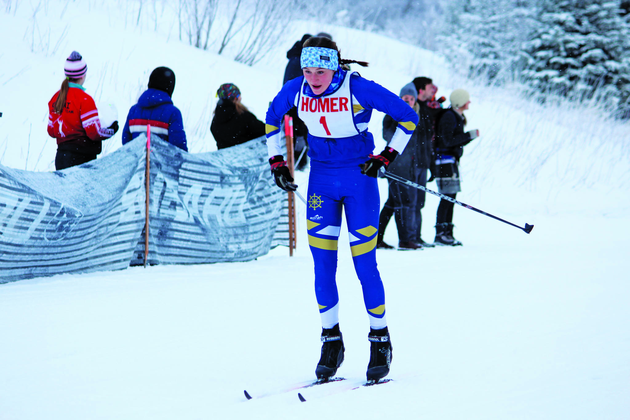 Homer's Autumn Daigle skis to first place in the varsity girls' 5-kilometer classic race Friday, Jan. 31, 2020 during the Homer Invite at the Lookout Mountain Trails on Ohlson Mountain Road near Homer, Alaska. (Photo by Megan Pacer/Homer News)