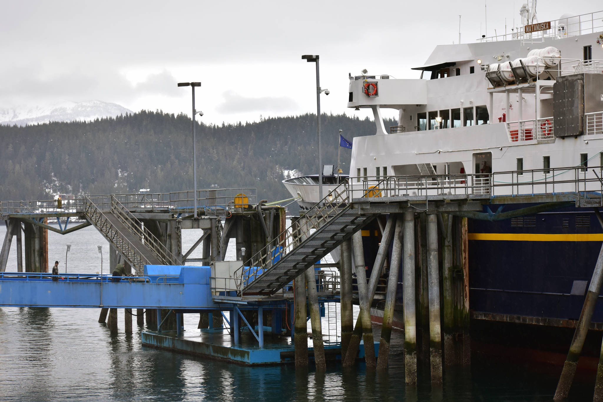 Peter Segall | Juneau Empire                                 The MV Matanuska tied up at the Auke Bay Ferry Terminal on Thursday.