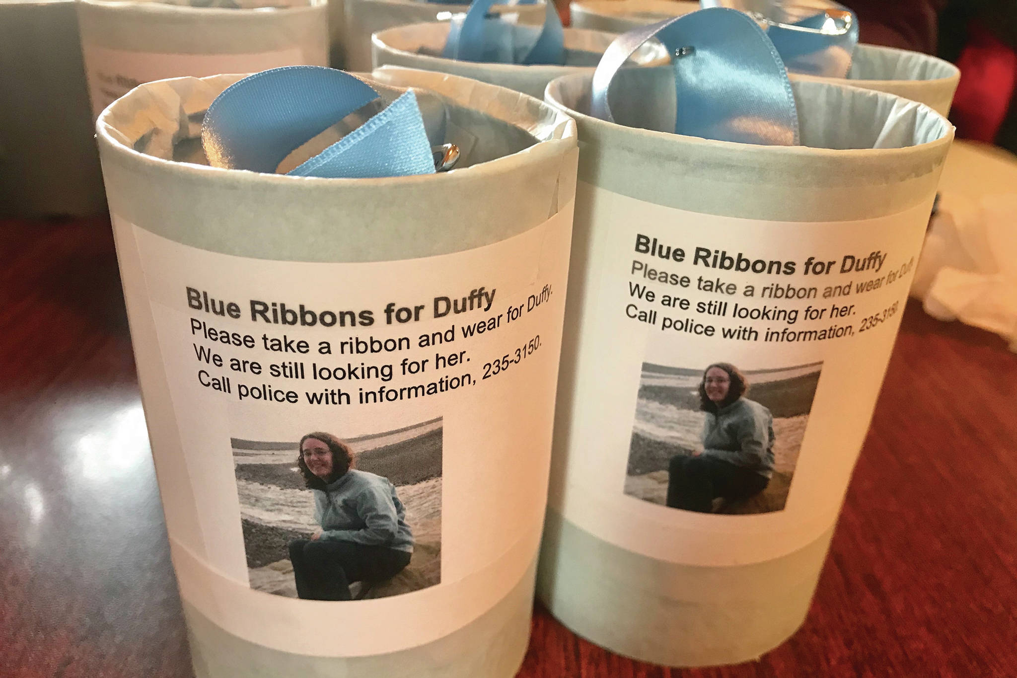 """Photo courtesy of Christina Whiting                                Tins with blue ribbons were placed on Feb. 26, 2020, around Homer, Alaska, for people to wear as part of an awareness campaign for a missing Homer woman, Anesha """"Duffy"""" Murnane, missing since Oct. 17, 2019."""