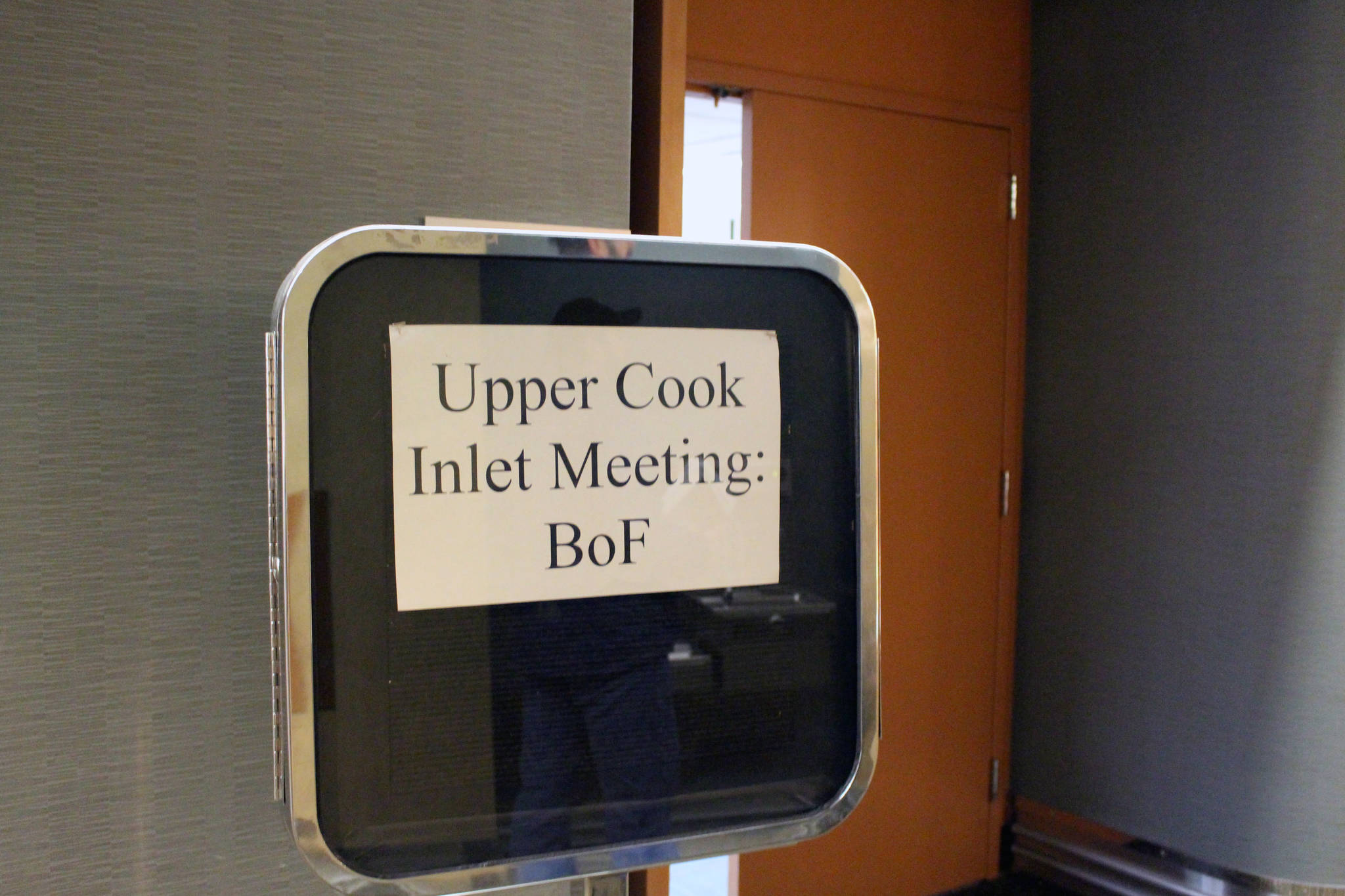 A sign welcoming visitors to the Alaska Board of Fisheries Upper Cook Inlet Finfish meeting is seen here at the William A. Egan Convention Center in Anchorage, Alaska on Feb. 11, 2020. (Photo by Brian Mazurek/Peninsula Clarion)