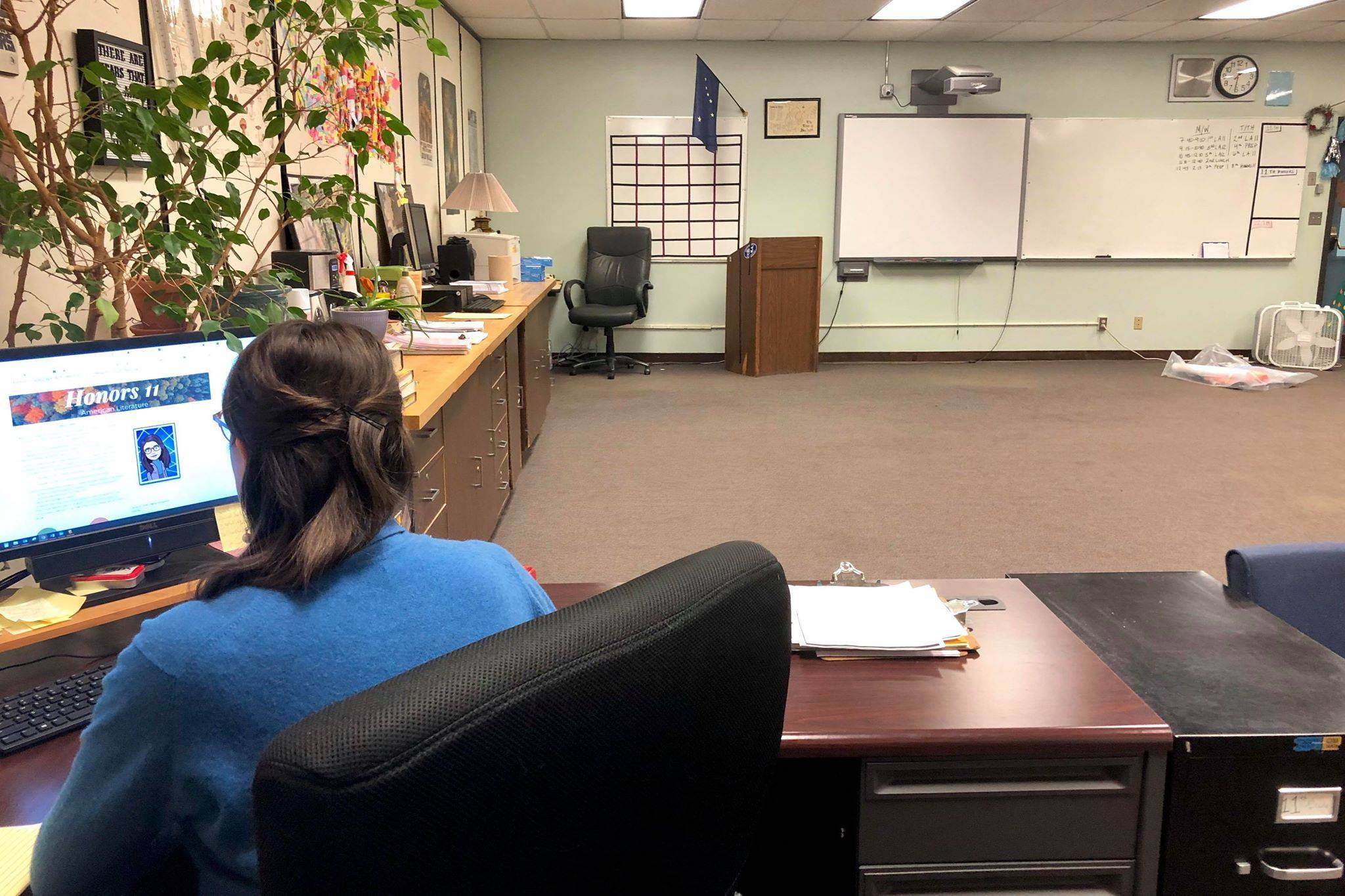 Soldotna High School English teacher Nicole Hewitt teaches her students remotely from her empty classroom at Soldotna High School on Monday, April 6, 2020 in Soldotna, Alaska. (Photo by Victoria Petersen/Peninsula Clarion)