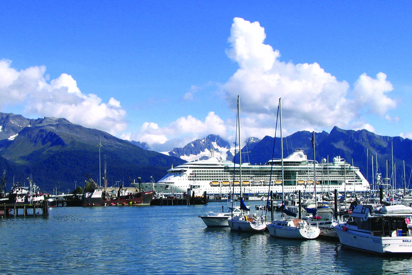 """This Sept. 7, 2007, file photo shows Royal Caribbean's """"Radiance of the Seas"""" docked in Seward. (AP Photo/Beth J. Harpaz, File)"""