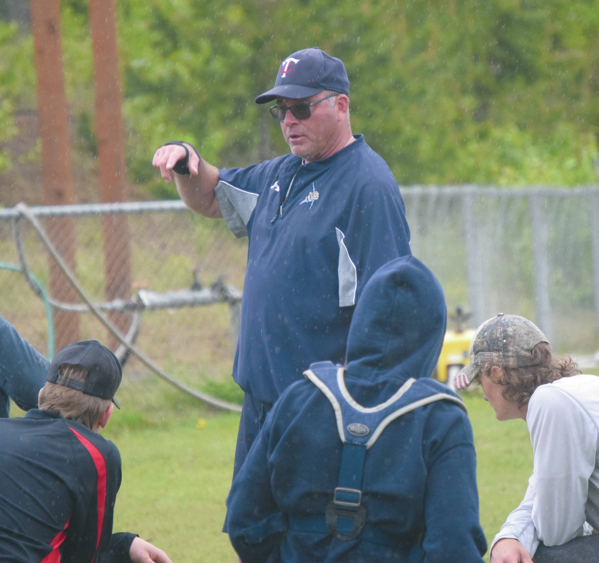 Alaska 20 head coach Robb Quelland addresses the team during practice Monday, June 9, 2020, at the Soldotna baseball fields in Soldotna, Alaska. (Photo by Jeff Helminiak/Peninsula Clarion)