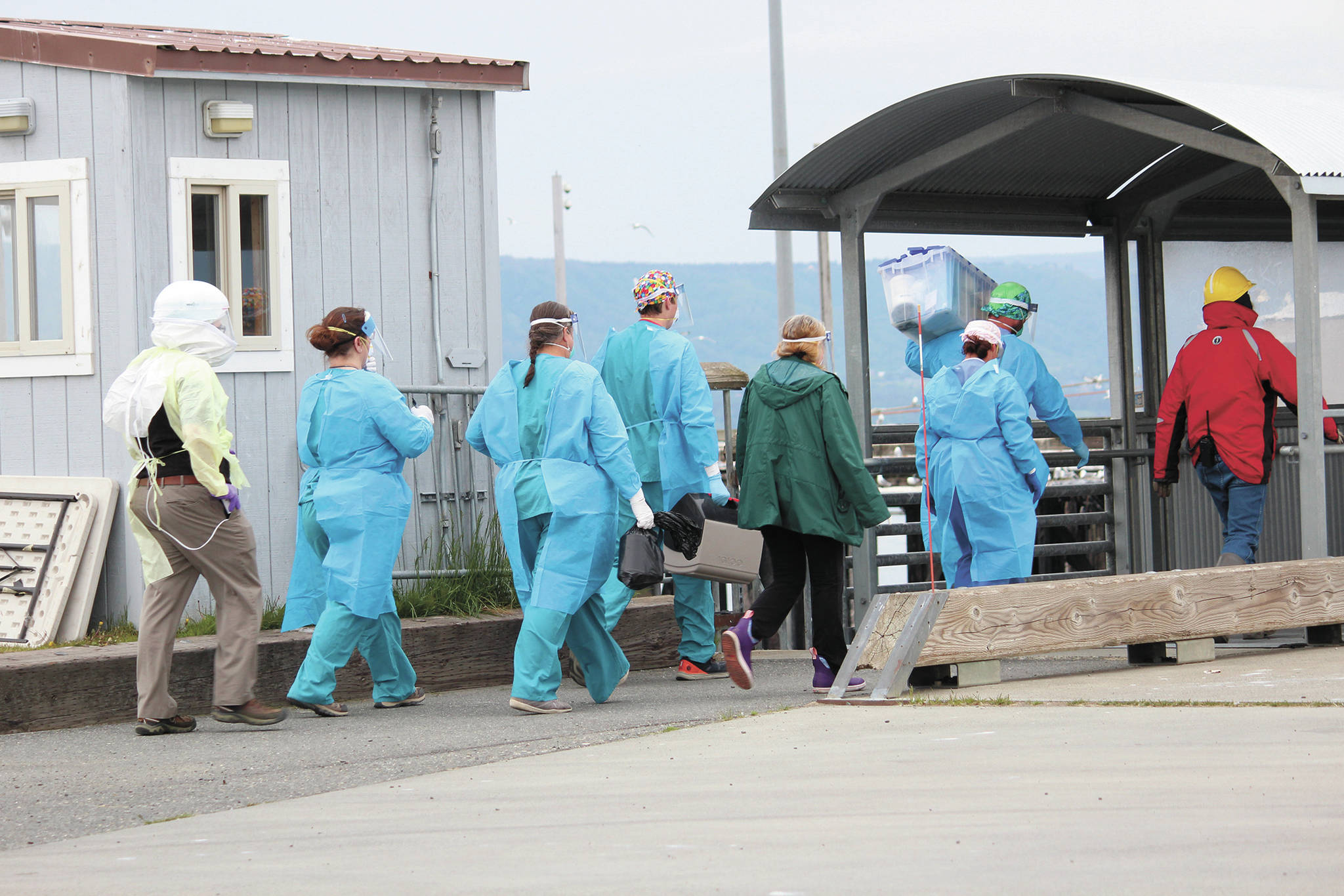 Staff from South Peninsula Hospital and Homer Public Health prepare to board the M/V Tustumena to test 35 crew and six passengers after it docked at the Homer Ferry Terminal on Monday, June 8, 2020 in Homer, Alaska. The ship carried one crew member who tested positive for COVID-19 on Saturday in Dutch Harbor. Health workers tested people on board the ship when it arrived, and crew and passengers were only allowed to disembark if they had private transportation to their final quarantine destination. (Photo by Megan Pacer/Homer News)