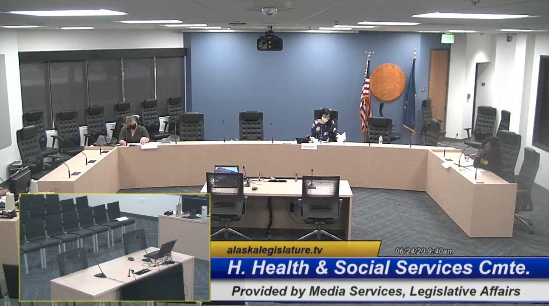 Screenshot by Brian Mazurek / Peninsula Clarion                                 From left, Rep. Geran Tarr, D- Anchorage, Rep. Tiffany Zulkosky, D-Bethel and Rep. Sharon Jackson, R- Eagle River, hold a hearing for the Alaska House Health and Social Services Committee on the State's COVID-19 response at the Anchorage Legislative Office in Anchorage on Wednesday.