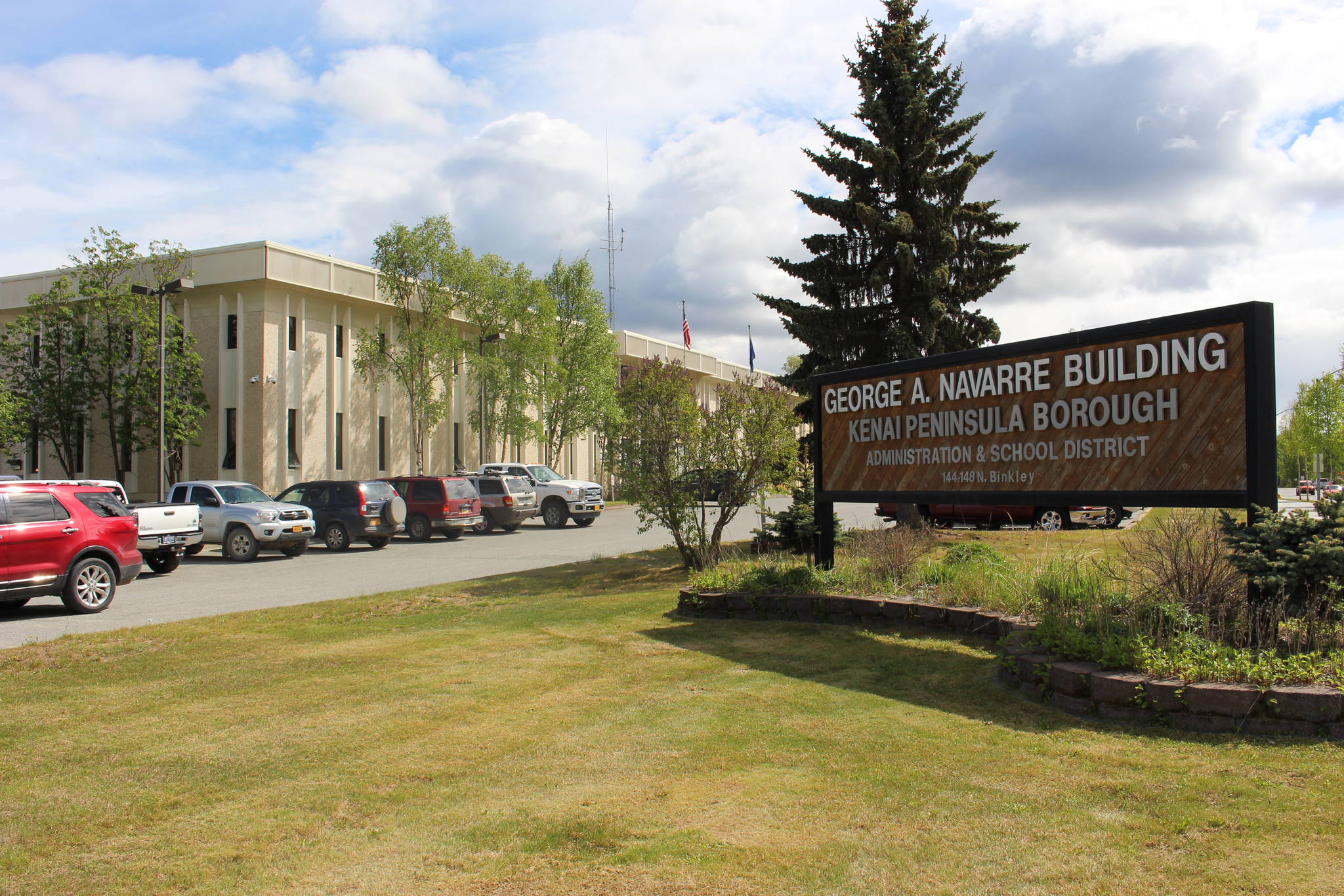 The entrance to the Kenai Peninsula Borough building in Soldotna, Alaska, is seen here on June 1, 2020. (Photo by Brian Mazurek/Peninsula Clarion)