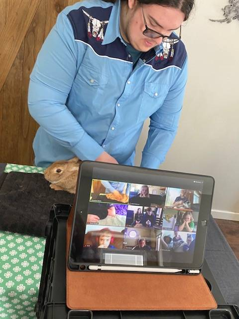 Colton Rankin, member of the North Road Rangers 4-H Club, participates in a 4-H workshop on Zoom with his rabbit on April 9, 2020. (Photo courtesy Cassy Rankin/Kenai Peninsula District 4-H)