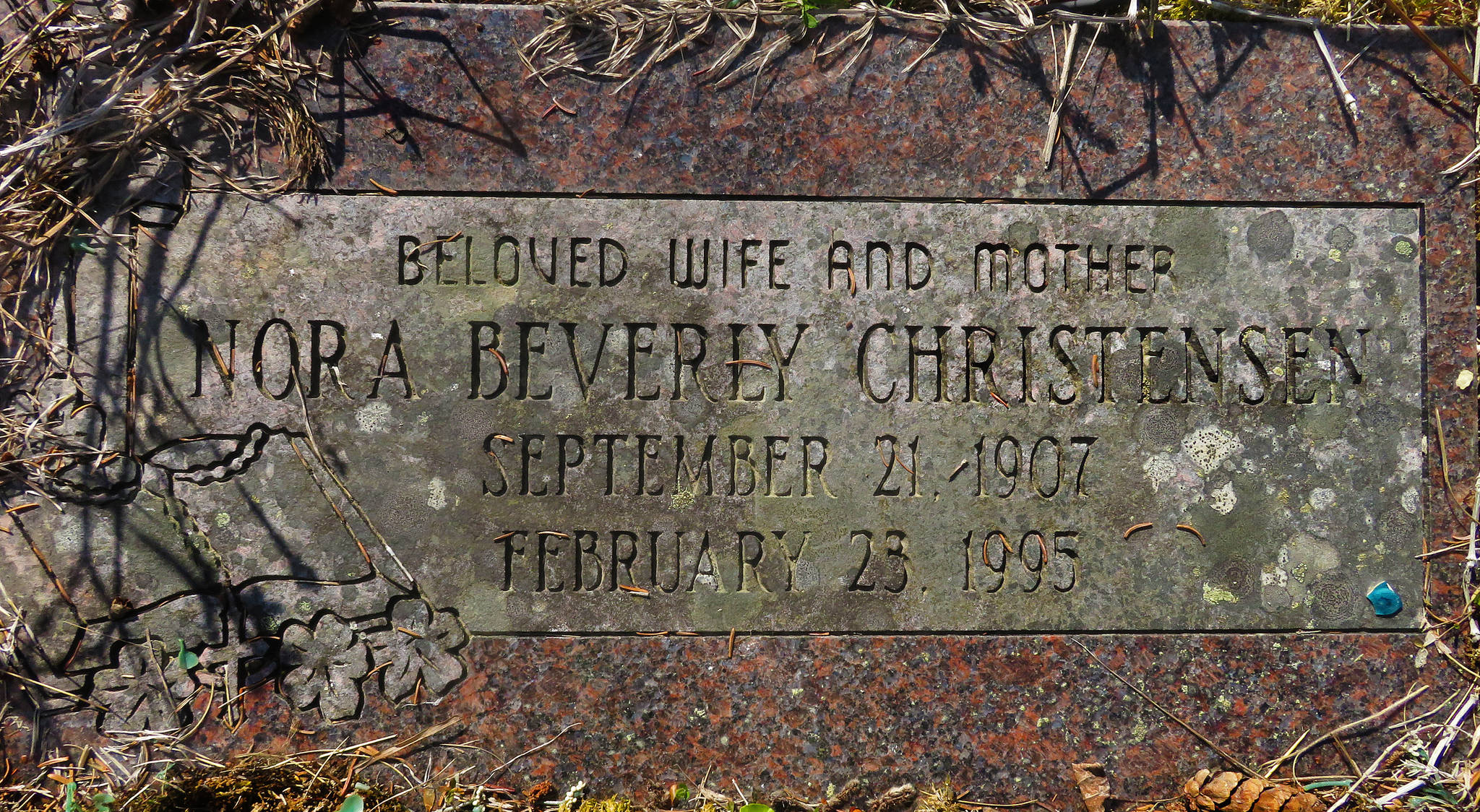Beverly Christensen's headstone. She was laid to rest in Spruce Grove Memorial Park in Kasilof in 1995. (Photo by Clark Fair)