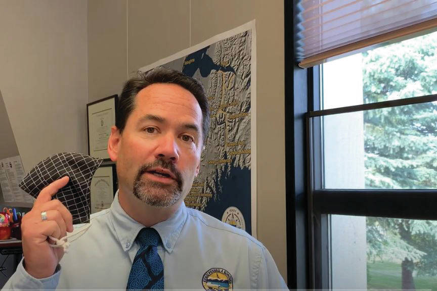 A screengrab of Kenai Peninsula Borough School District Superintedent John O'Brien announcing in a Thursday, July 30, 2020 video that masks will be required in school buildings this fall, in Soldotna, Alaska. (Photo by Victoria Petersen/Peninsula Clarion)