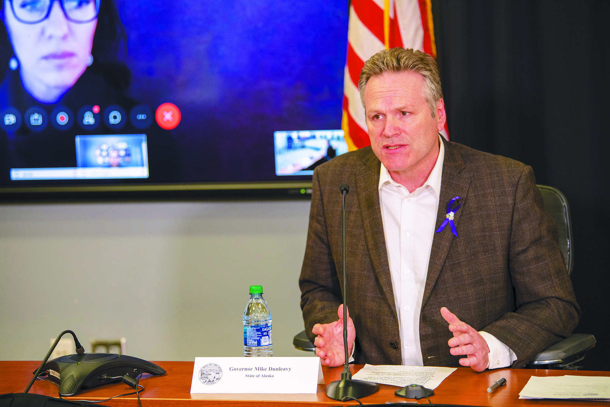 Gov. Mike Dunleavy speaks during a Friday, March 27, 2020 press conference in the Atwood Building in Anchorage, Alaska. (Photo courtesy Office of the Governor)