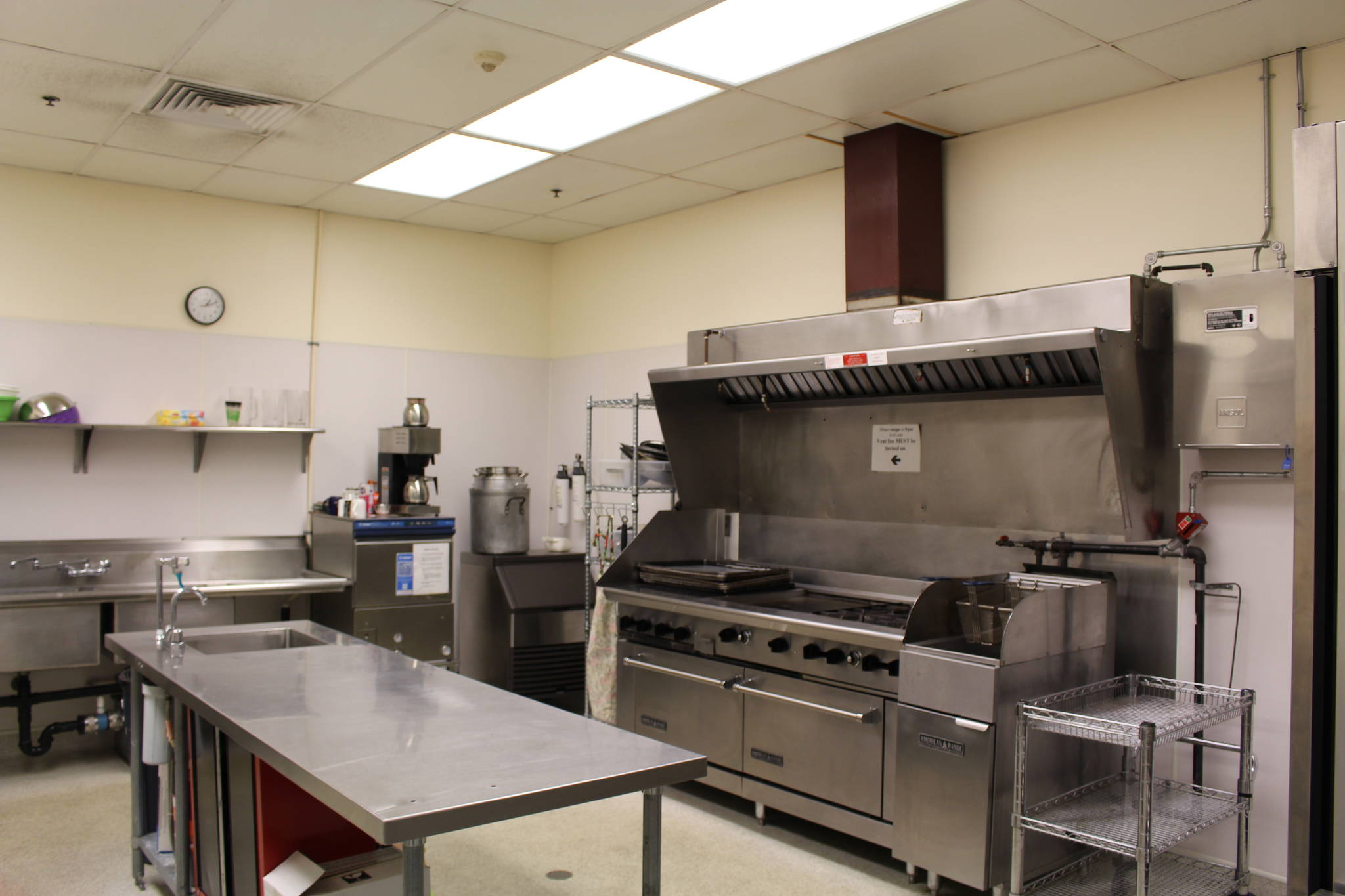 The commercial kitchen at the Challenger Learning Center, which could be used as an emergency cold weather shelter this winter, is seen here on Sept. 10, 2020. (Photo by Brian Mazurek/Peninsula Clarion)