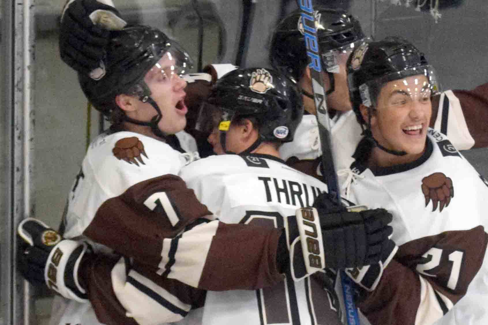 The Kenai River Brown Bears celebrate the first-period goal of Logan Ritchie (far left) on Thursday, Nov. 21, 2019, at the Soldotna Regional Sports Complex in Soldotna, Alaska. (Photo by Jeff Helminiak/Peninsula Clarion)