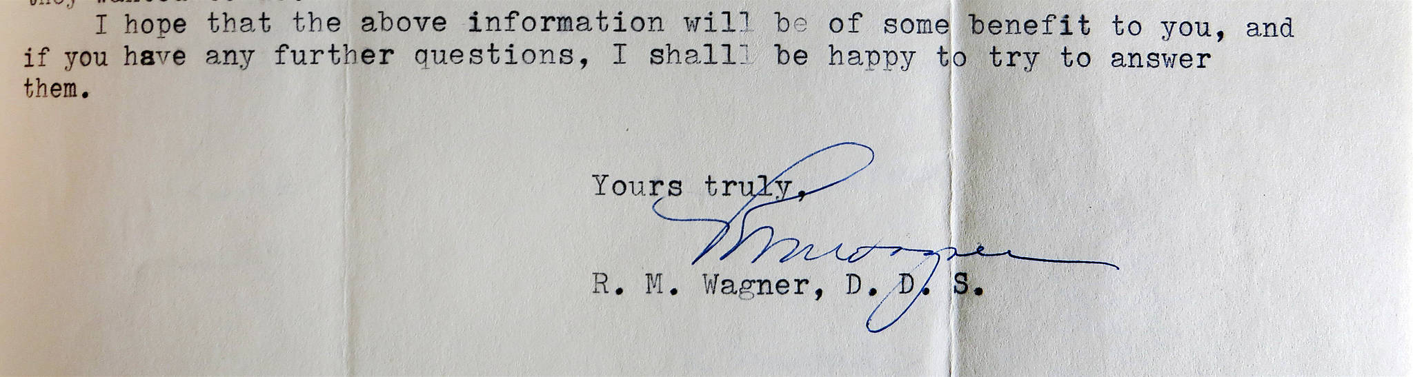 Letter courtesy of Fair family collection  Dr. Wagner closed his April 1960 letter to Dr. Calvin Fair on a positive note.