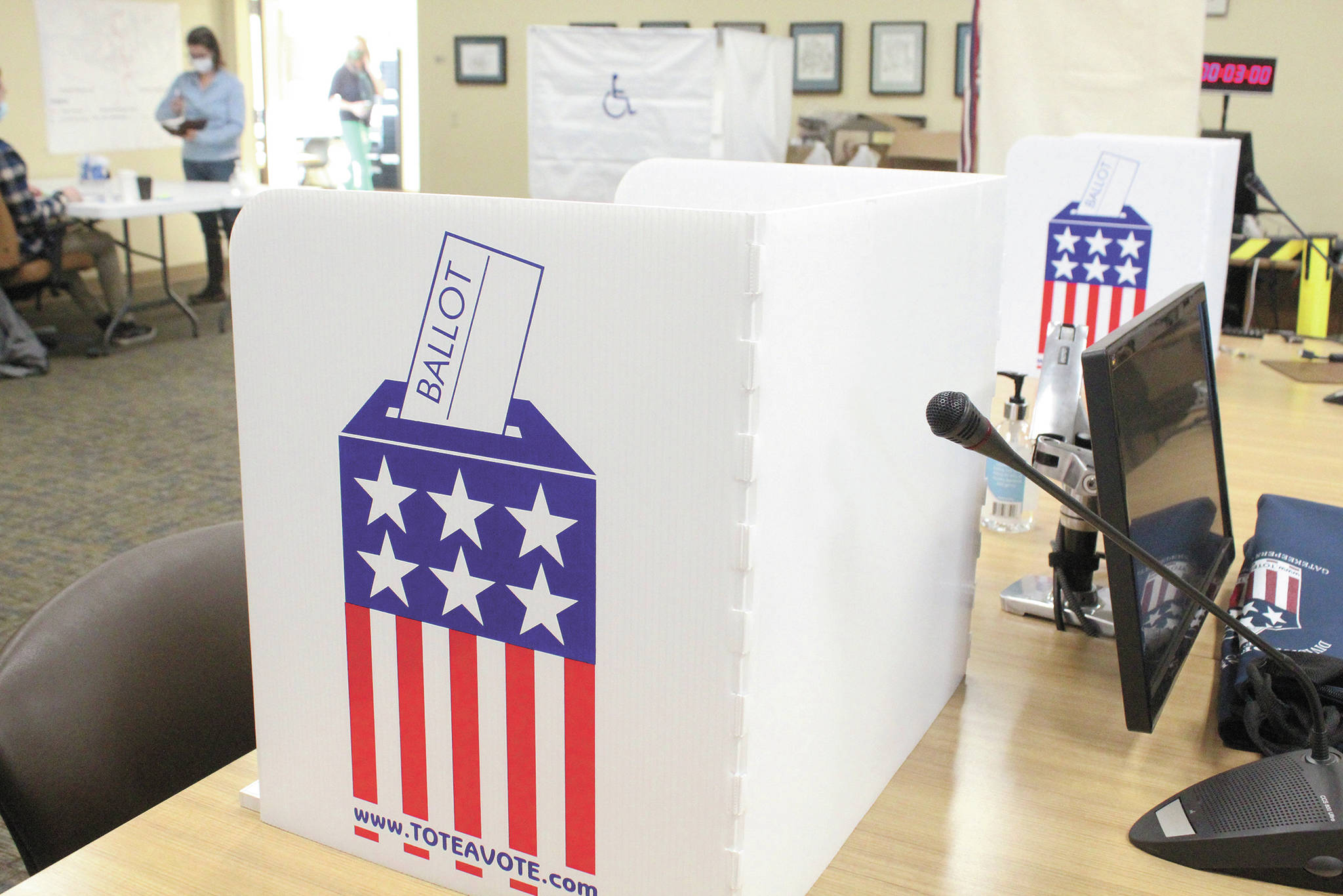 Voting stations sit ready in Homer City Hall during the regular municipal election Tuesday, Oct. 6, 2020 in Homer, Alaska. (Photo by Megan Pacer/Homer News)