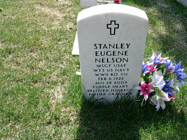 The Anchorage grave marker for Stanley Eugene Nelson denotes his military career and family ties. (Photo courtesy of Nelson family genealogical webpage)