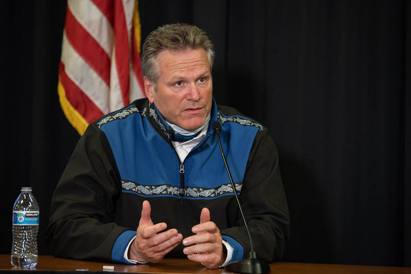 Gov. Mike Dunleavy at an Anchorage news conference on Sept. 15 (Courtesy photo / Office of Gov. Mike Dunleavy)