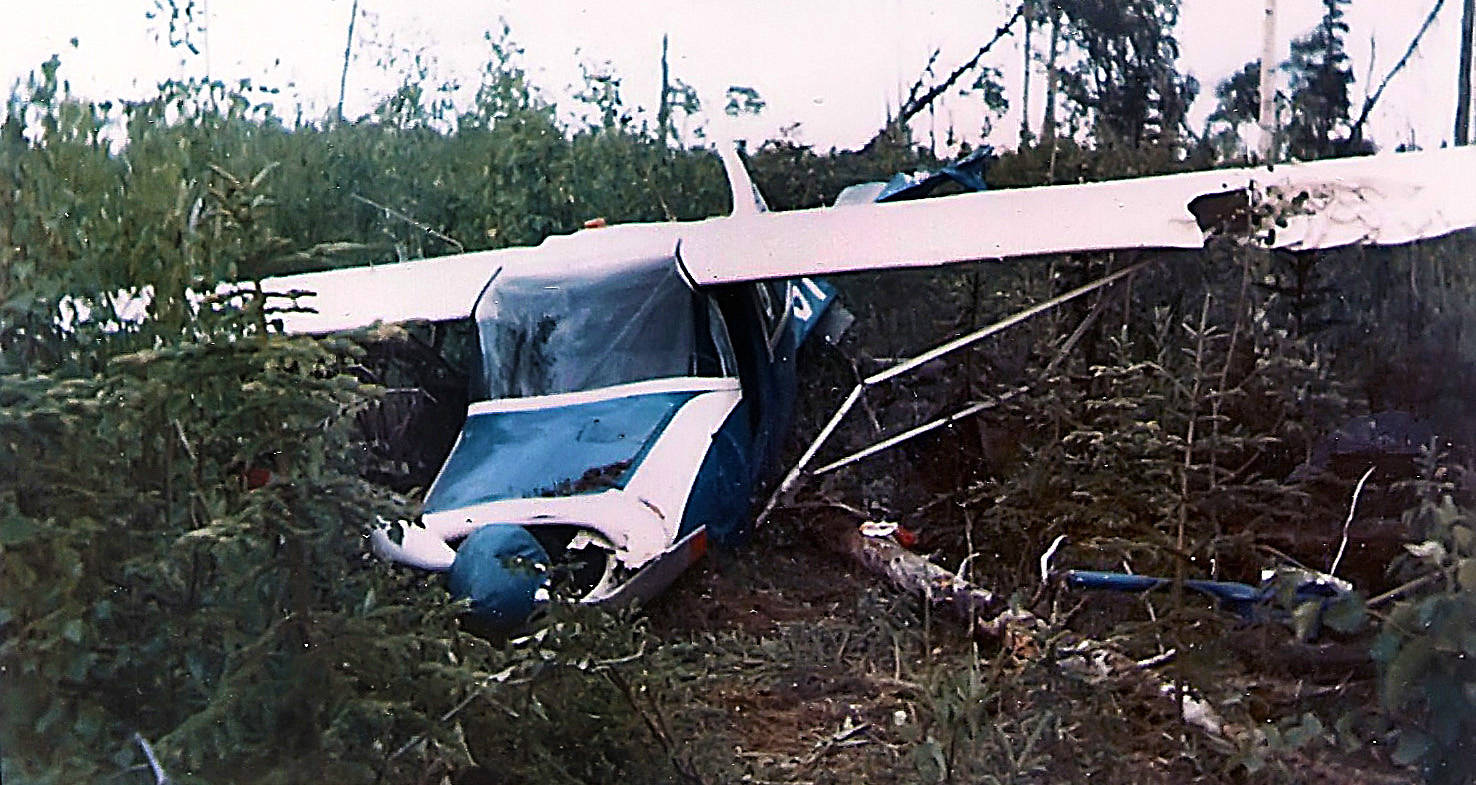 This is a four-place, single-engine Maule Rocket aircraft, owned by Soldotna's Dr. Elmer Gaede, a day or two after it crashed into the brush and sparse trees near Forest Lane, between Soldotna and Sterling, on Aug. 2, 1967. (Photo courtesy of Lee Bowman)