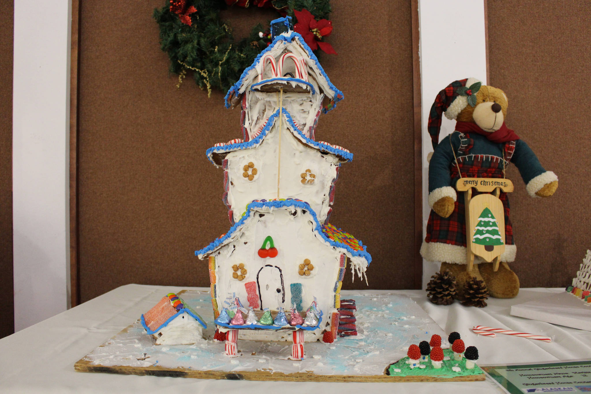 A gingerbread house created by Marissa Moffis, age 12, is seen on display at the Kenai Visitors and Cultural Center on Dec. 8, 2020. (Photo by Brian Mazurek/Peninsula Clarion)