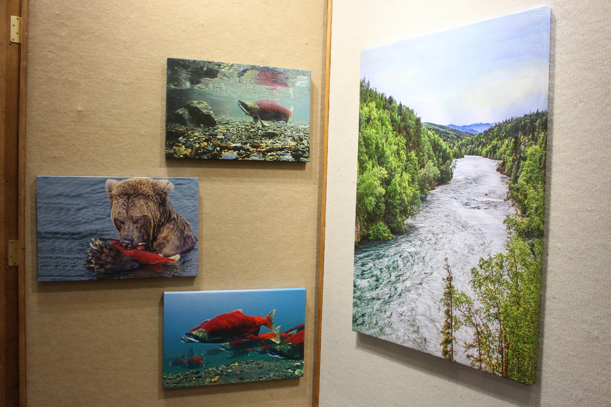 Photographs on canvas by Mary Frische and Tom Collopy are on display at the Kenai Visitor and Cultural Center on Jan. 12, 2021. (Photo by Brian Mazurek/Peninsula Clarion)