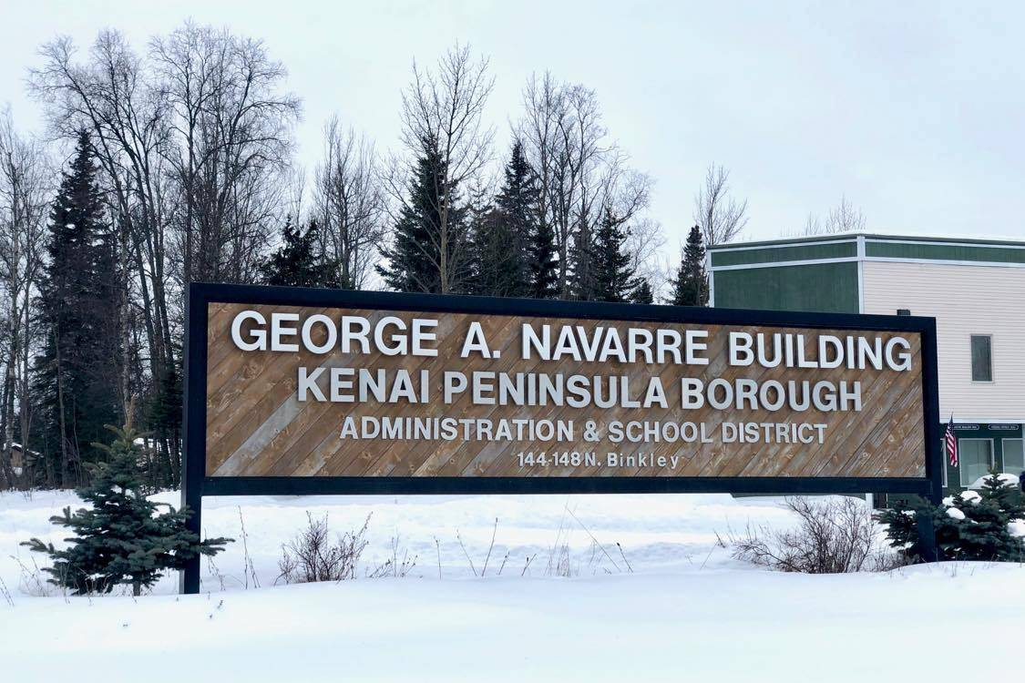 A sign welcomes employees and visitors at the Kenai Peninsula Borough administration building on Tuesday, March 17, 2020, in Soldotna, Alaska. (Photo by Victoria Petersen/Peninsula Clarion)
