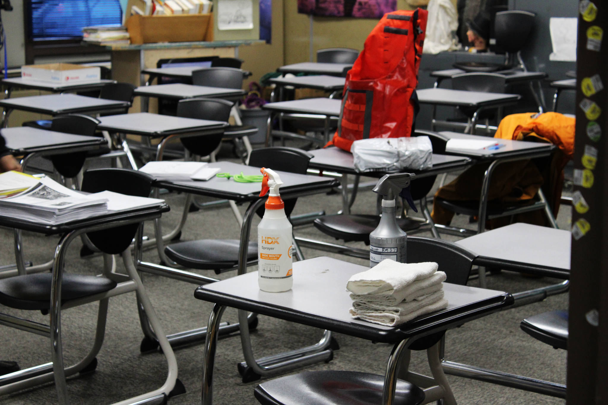 Sanitization equipment is seen inside of a classroom at Kenai Middle School on Friday, Jan. 8 in Kenai, Alaska. (Ashlyn O'Hara/Peninsula Clarion)