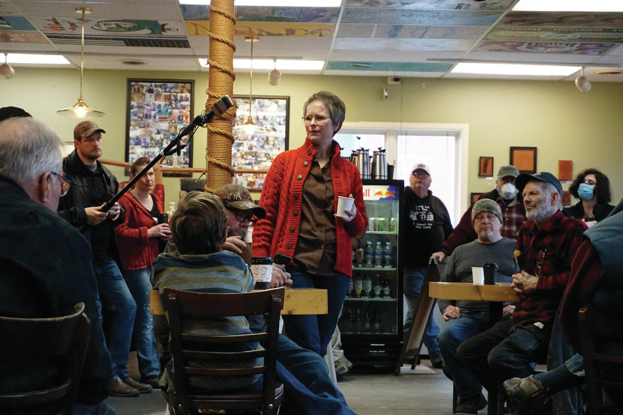 Rep. Sarah Vance, R-Homer, speaks at a town hall meeting on Monday, March 29, 2021, at Captain's Coffee in Homer, Alaska. (Photo by Michael Armstrong/Homer News)