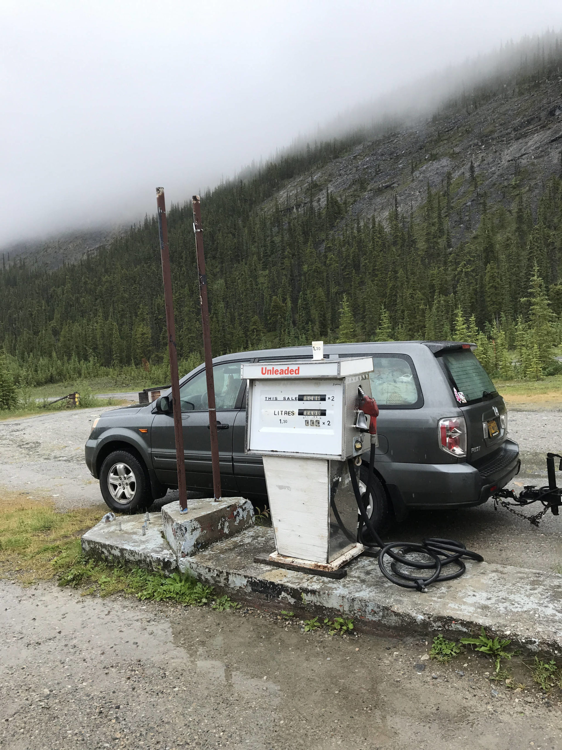 Getting gas along the Alaska Highway on July 16, 2020. (Photo provided)