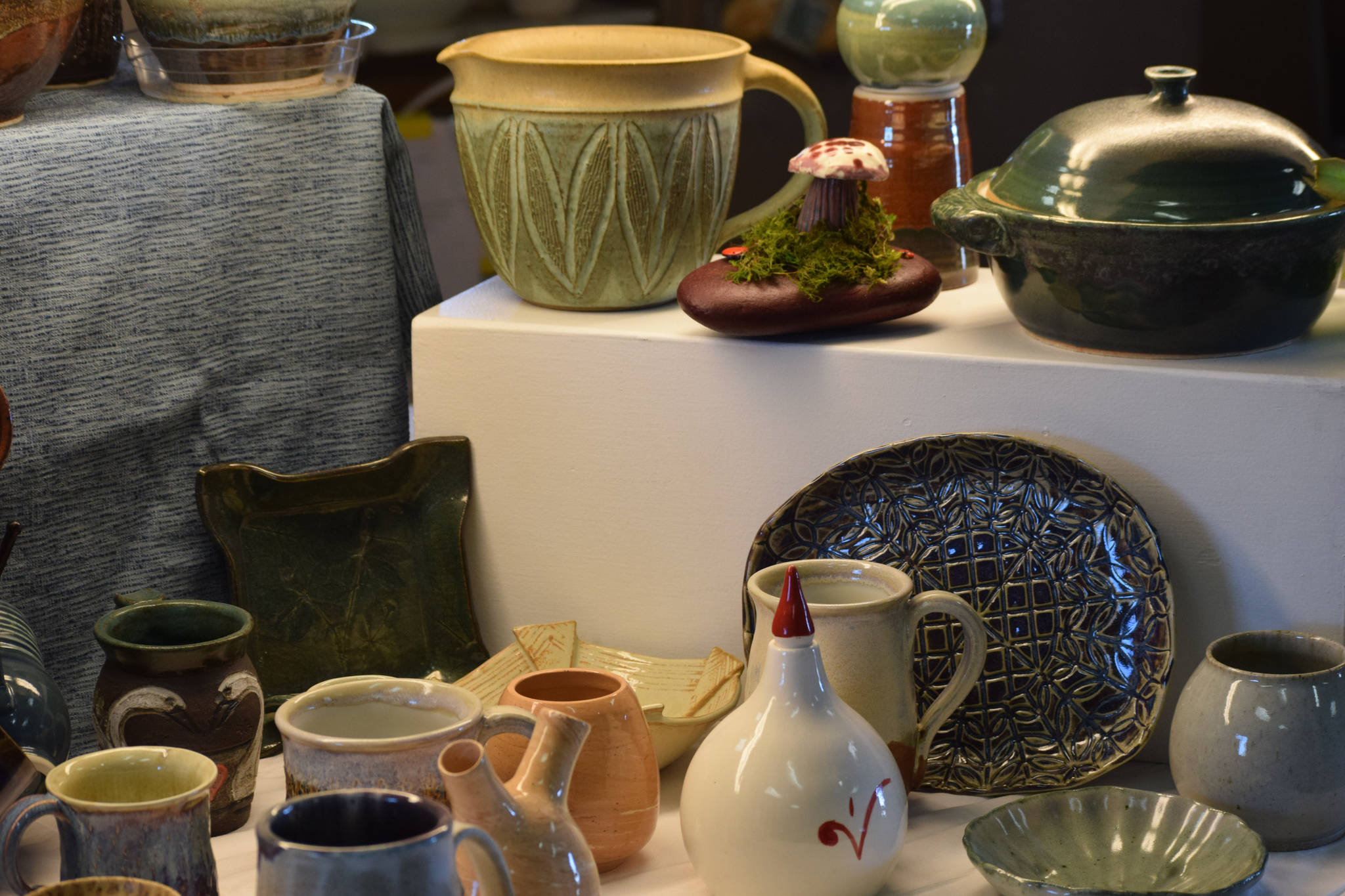 Handmade ceramics are on display at the Kenai Potters Guild on Tuesday, April 27, 2021. Camille Botello / Peninsula Clarion