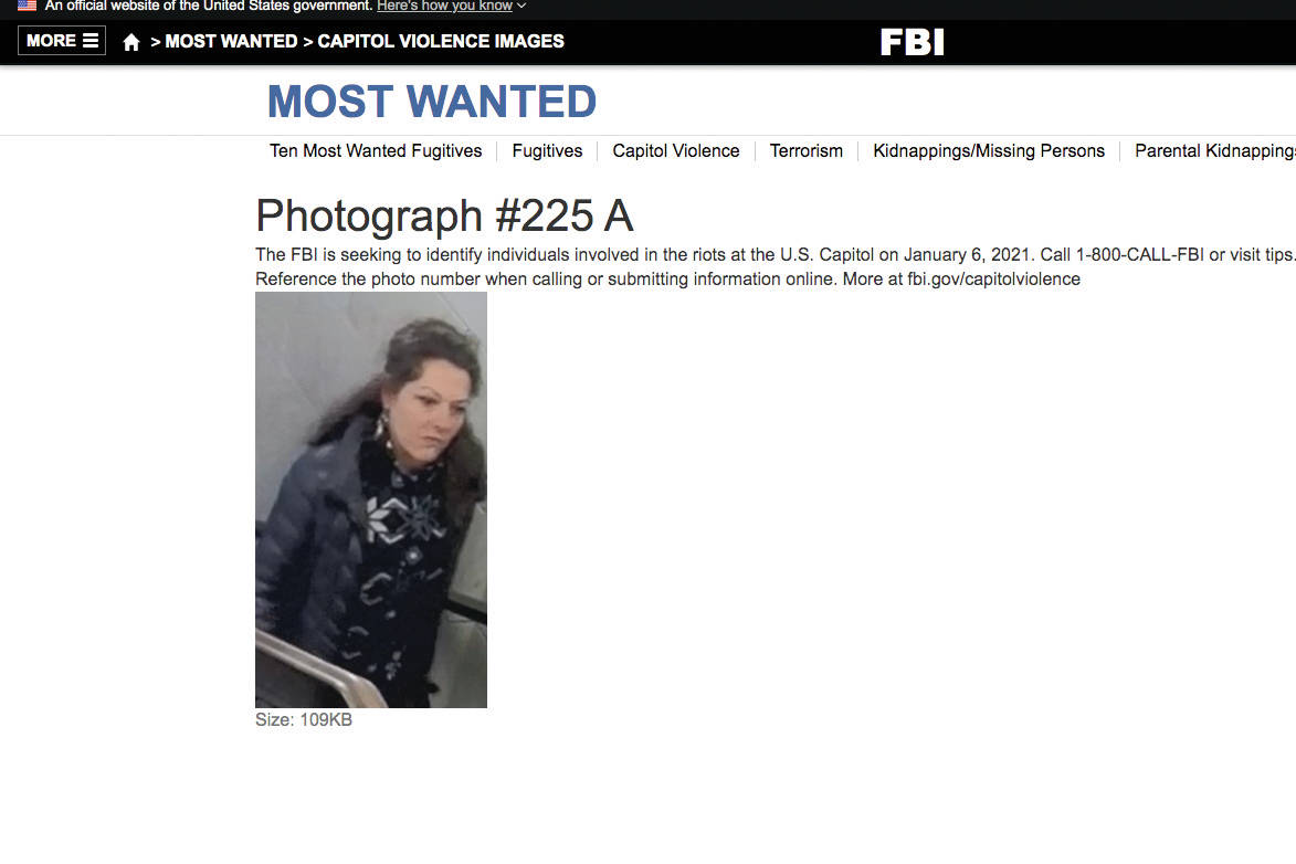 A screenshot from the FBI's Most Wanted page showing a photo the FBI said was taken on Jan. 6, 2021, inside the U.S.Capitol. Marilyn Hueper said FBI agents showed her this image and claimed it was of her. (Screenshot)