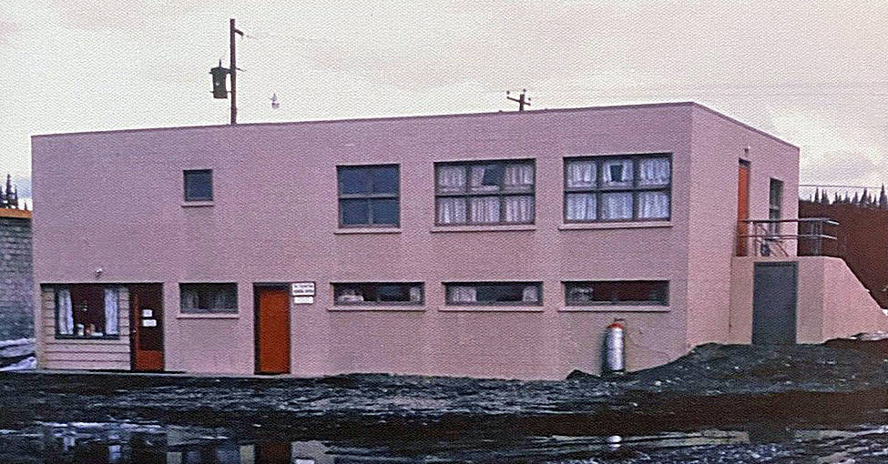 The Central Peninsula Medical Clinic about three years since its opening in April 1961. The first official clinic on the central peninsula, it housed physicians Paul Isaak and Elmer Gaede upstairs and dentist Calvin Fair and the Soldotna Public Library downstairs. (Photo courtesy of the Isaak family)