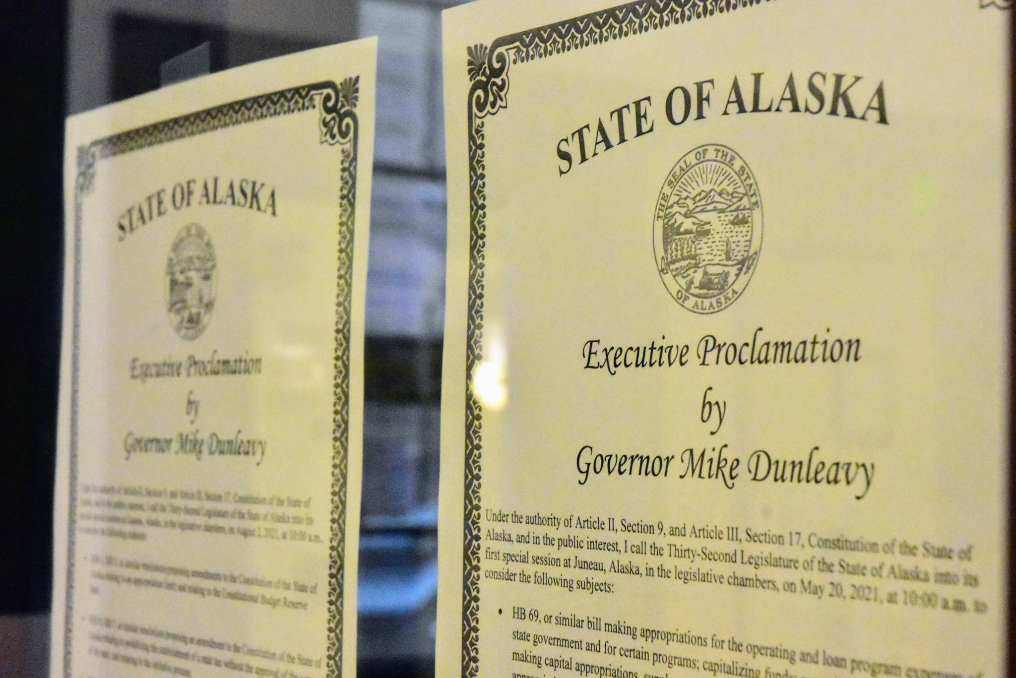 Proclamations from Gov. Mike Dunleavy calling special sessions of the Alaska State Legislature for late May and early August were posted in the otherwise quiet office of the House Clerk on Friday, May 21, 2021. The first special session has started but the Capitol building was quiet as most of the work before lawmakers will take place in committee. (Peter Segall / Juneau Empire)