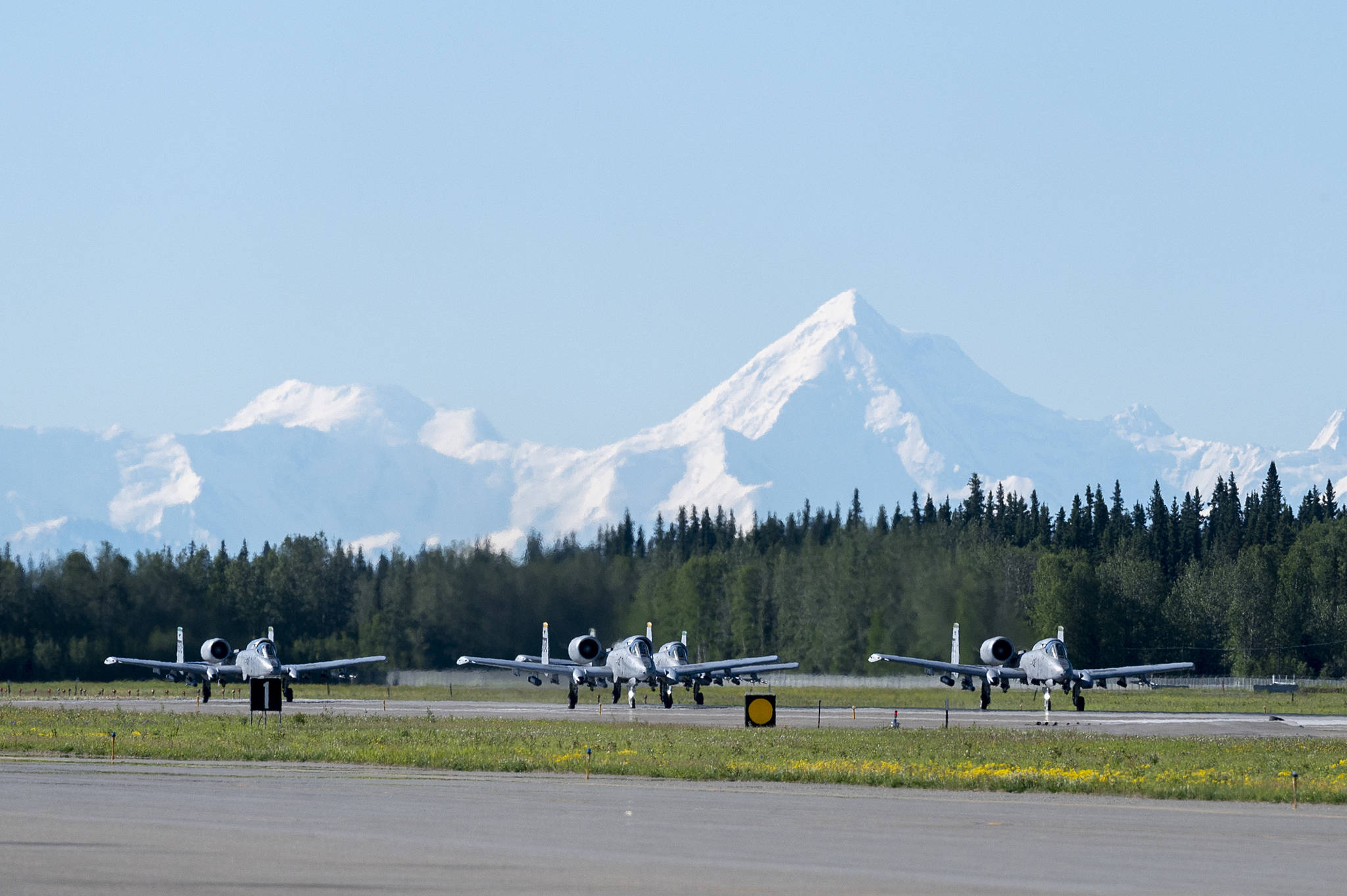 A-10 Thunderbolt II aircraft assigned to the 25th Fighter Squadron taxi during exercise Red Flag-Alaska 21-02 at Eielson Air Force Base on June 14.  Tech. Sgt. Peter Thompson / U.S. Air Force