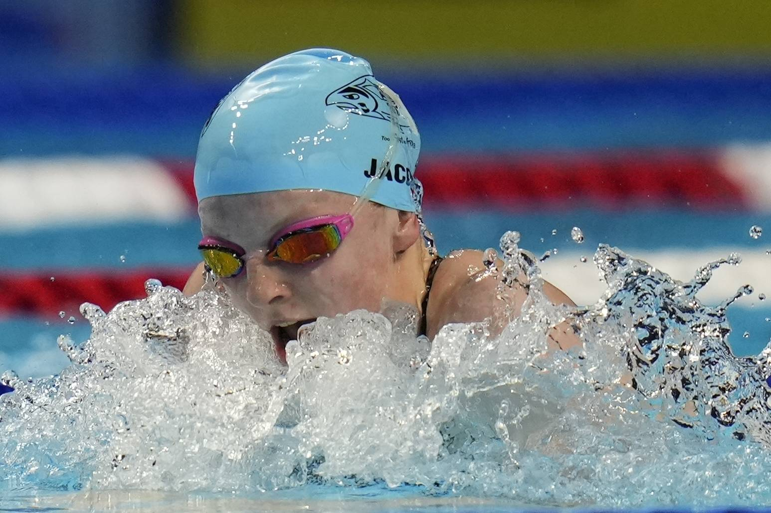 Lydia Jacoby participates in the Women's 100 Breaststroke during wave 2 of the U.S. Olympic Swim Trials on Monday, June 14, 2021, in Omaha, Neb. (AP Photo/Jeff Roberson)