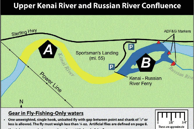 The Russian River Sanctuary Area is seen in the area labeled B in this map provided by the Alaska Department of Fish and Game.