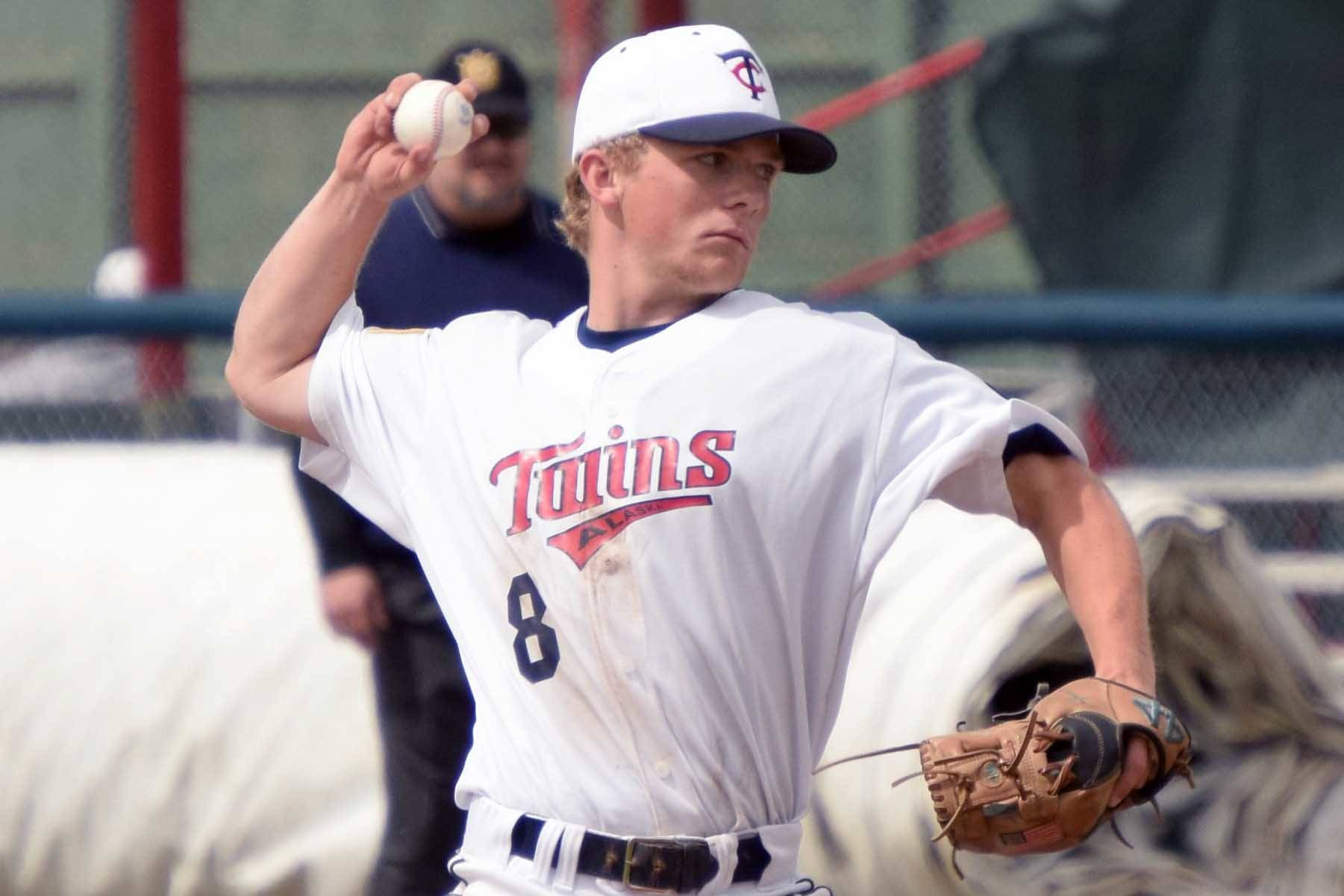 Twins starting pitcher Harrison Metz delivers to Service on Thursday, July 1, 2021, at Coral Seymour Memorial Park in Kenai, Alaska. (Photo by Jeff Helminiak/Peninsula Clarion)