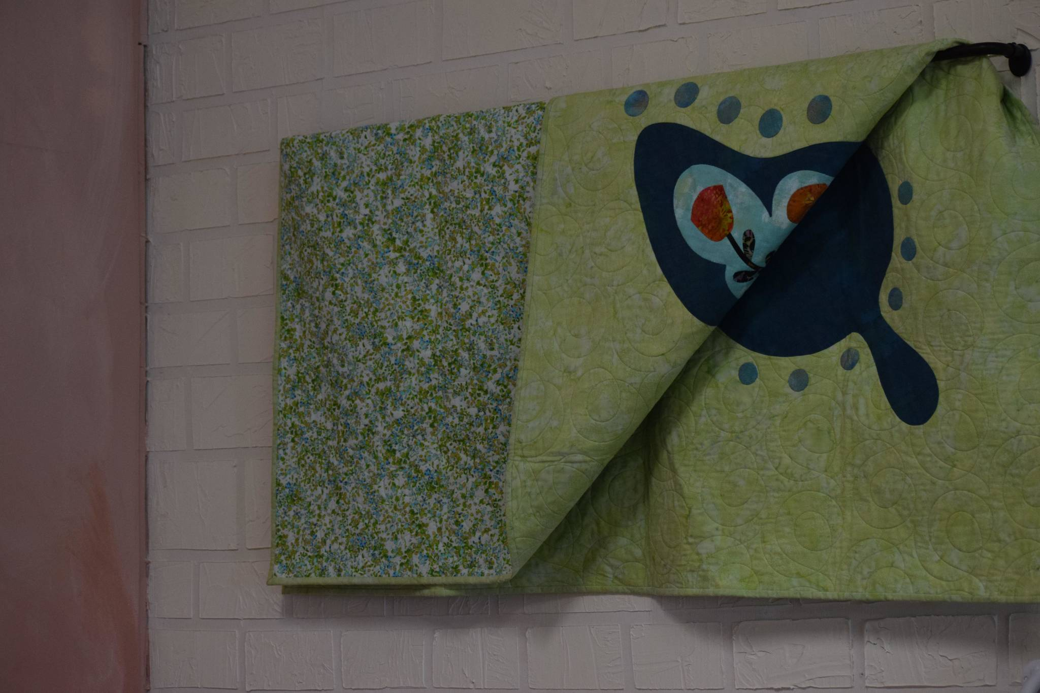 Holly Design Co. in Soldotna hosts one of the pieces of the Kenai River Quilt Tour on July 2, 2021. The tour will take place throughout the month of July. (Camille Botello / Peninsula Clarion)