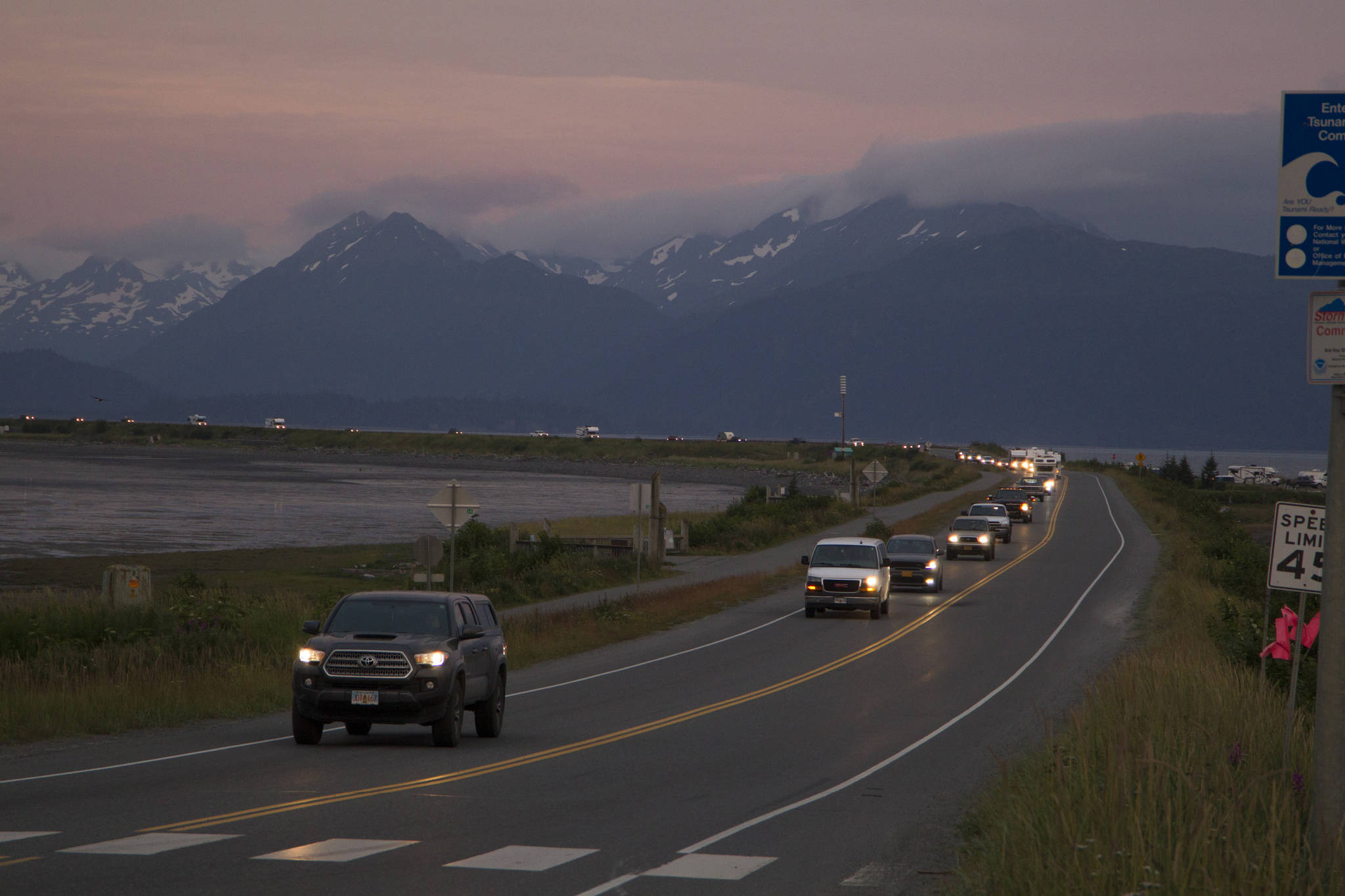 The Homer Spit is evacuated during the July 28 tsunami warning at about 10:50 p.m. (Photo by Sarah Knapp)