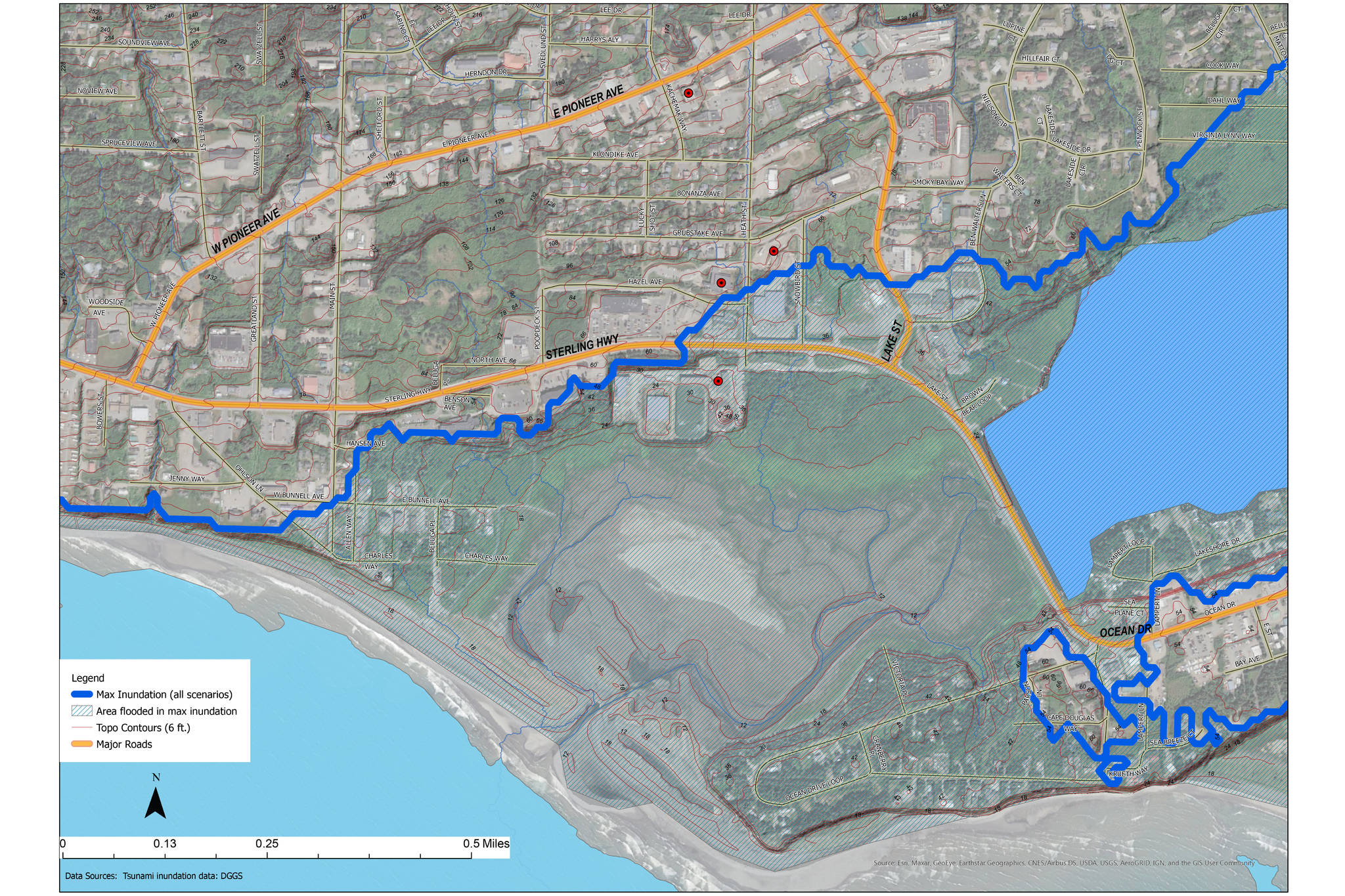 This graphic shows Homer's inundation zone, which is 50 feet above sea level. Currently, the Public Works campus is at 35 feet in elevation and at risk of flooding if a tsunami hit. (Photo provided by the Public Works Campus Task Force)