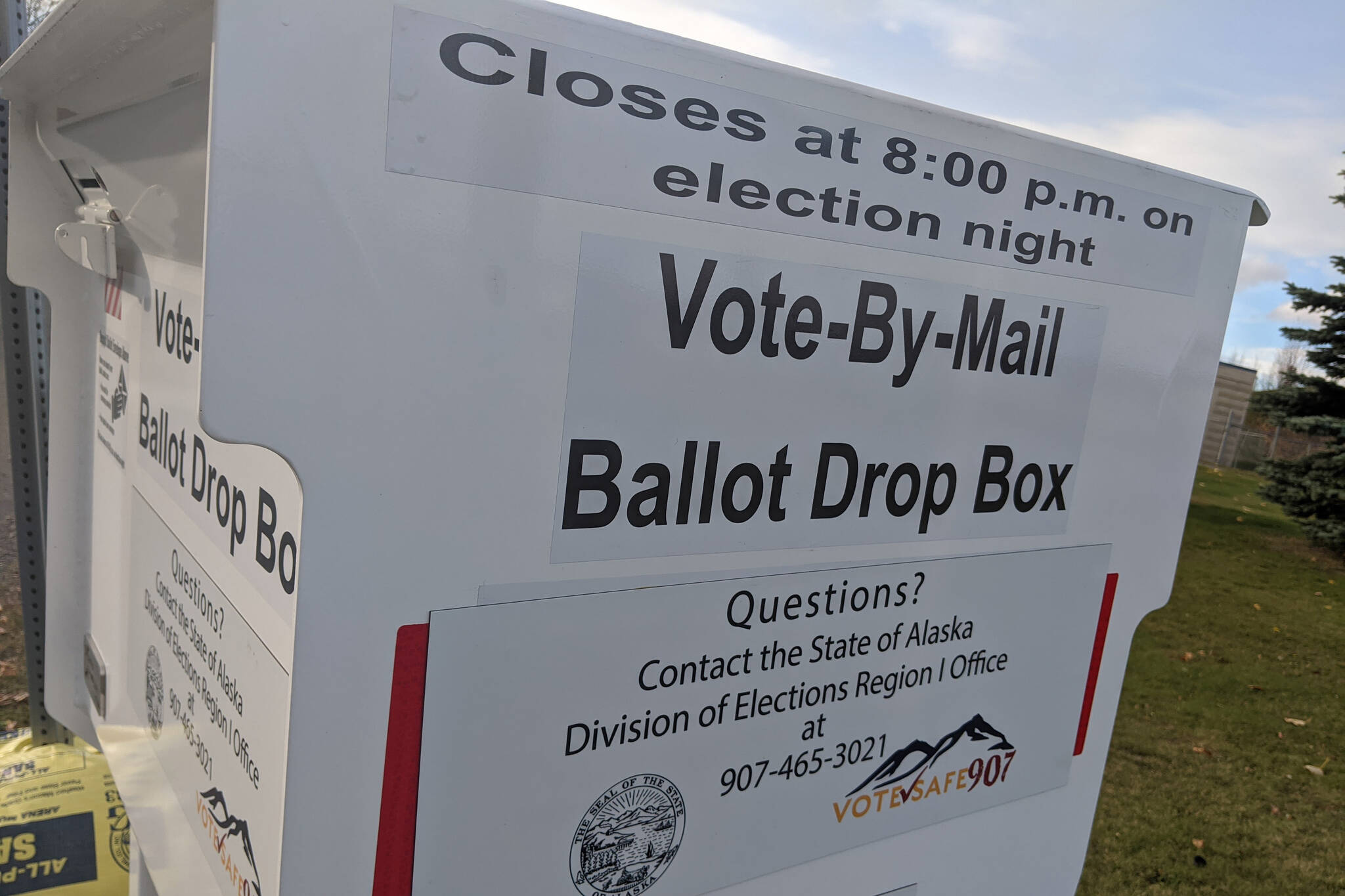 A vote-by-mail ballot box is photographed at the Kenai Peninsula Borough Administration building in Soldotna, Alaska, in October 2020. (Peninsula Clarion file)