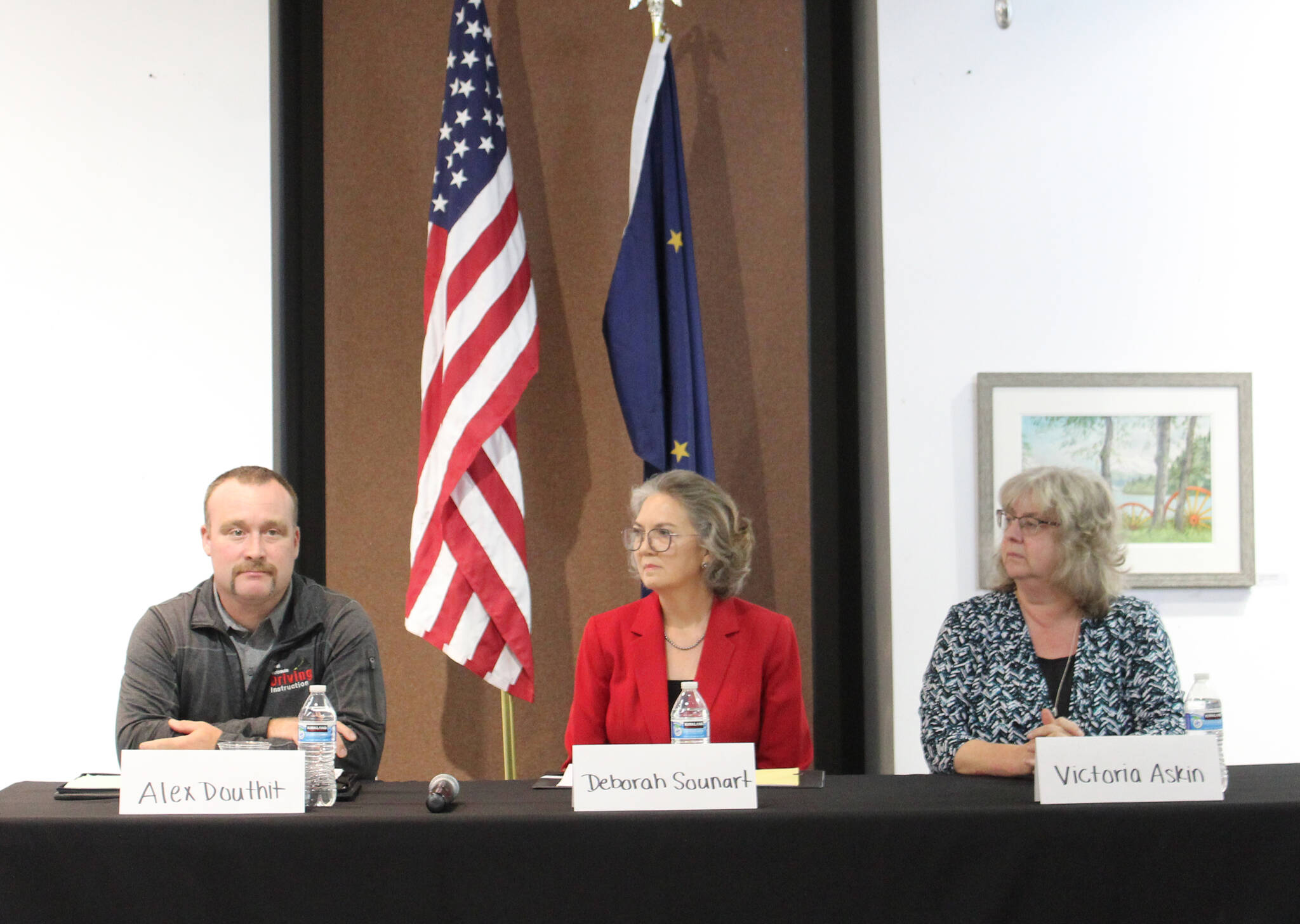 From left: Kenai City Council candidates Alex Douthit, Deborah Sounart and Victoria Askin attend an election forum at the Kenai Chamber of Commerce and Visitor Center on Wednesday, Sept. 15, 2021 in Kenai, Alaska. (Ashlyn O'Hara/Peninsula Clarion)
