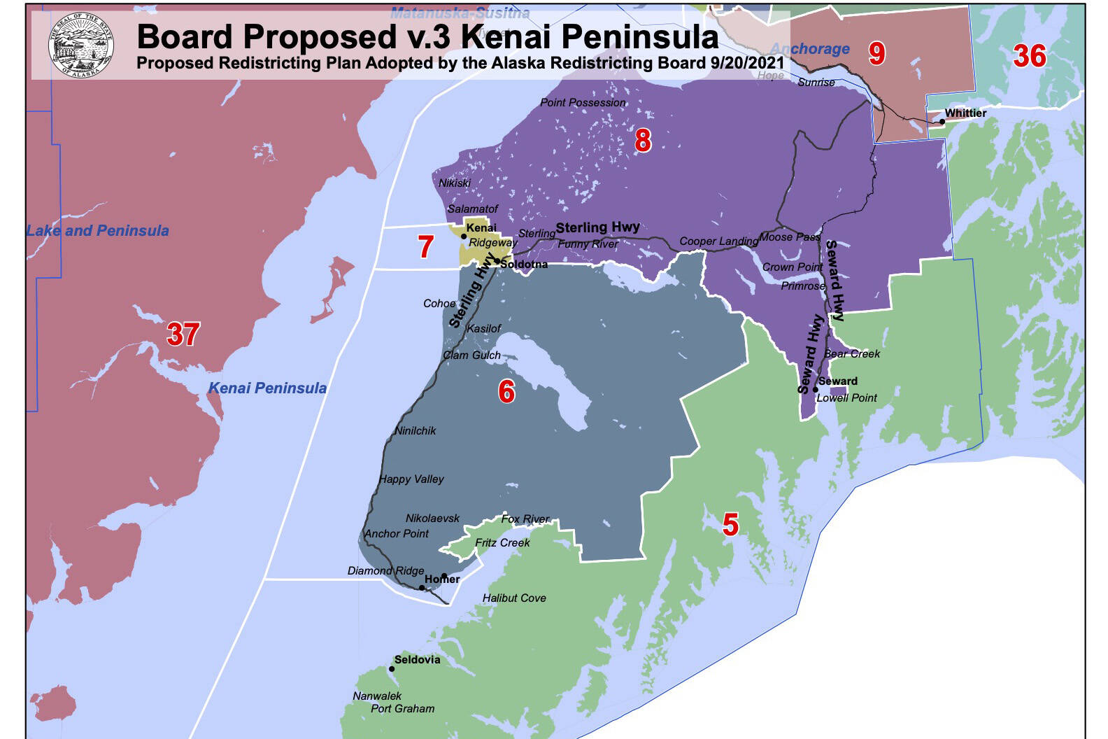 Version 3 of the Alaska Redistricting Board's proposal for the Kenai Peninsula keeps intact most of District 31, now called District 6, but puts the Fritz Creek and Fox River areas into a new District 5 that includes the southern shore of Kachemak Bay and Kodiak Island. (Photo courtesy of Alaska Redistricting Board)